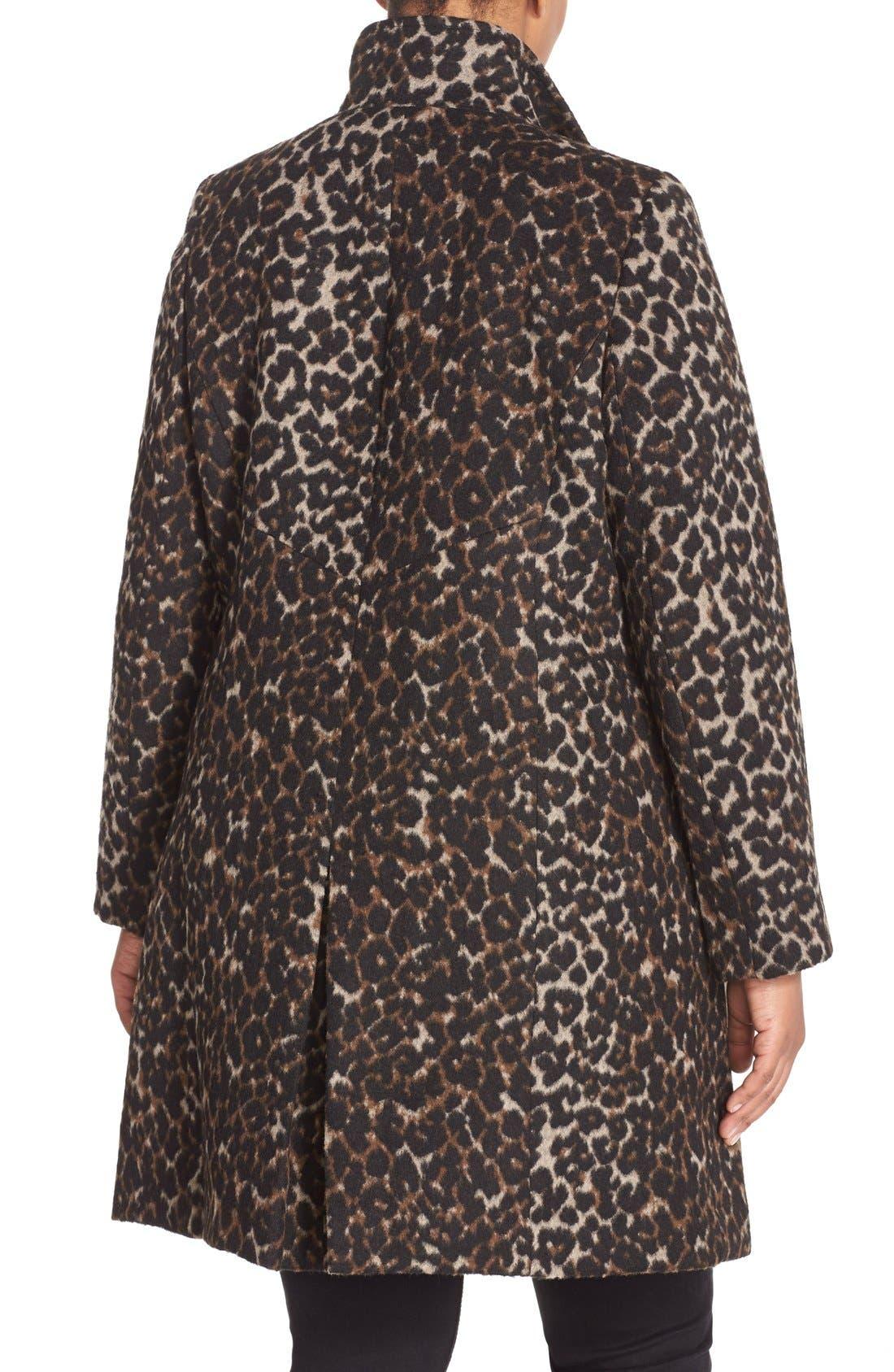 VIA SPIGA, Leopard Print Stand Collar Coat, Alternate thumbnail 2, color, 250