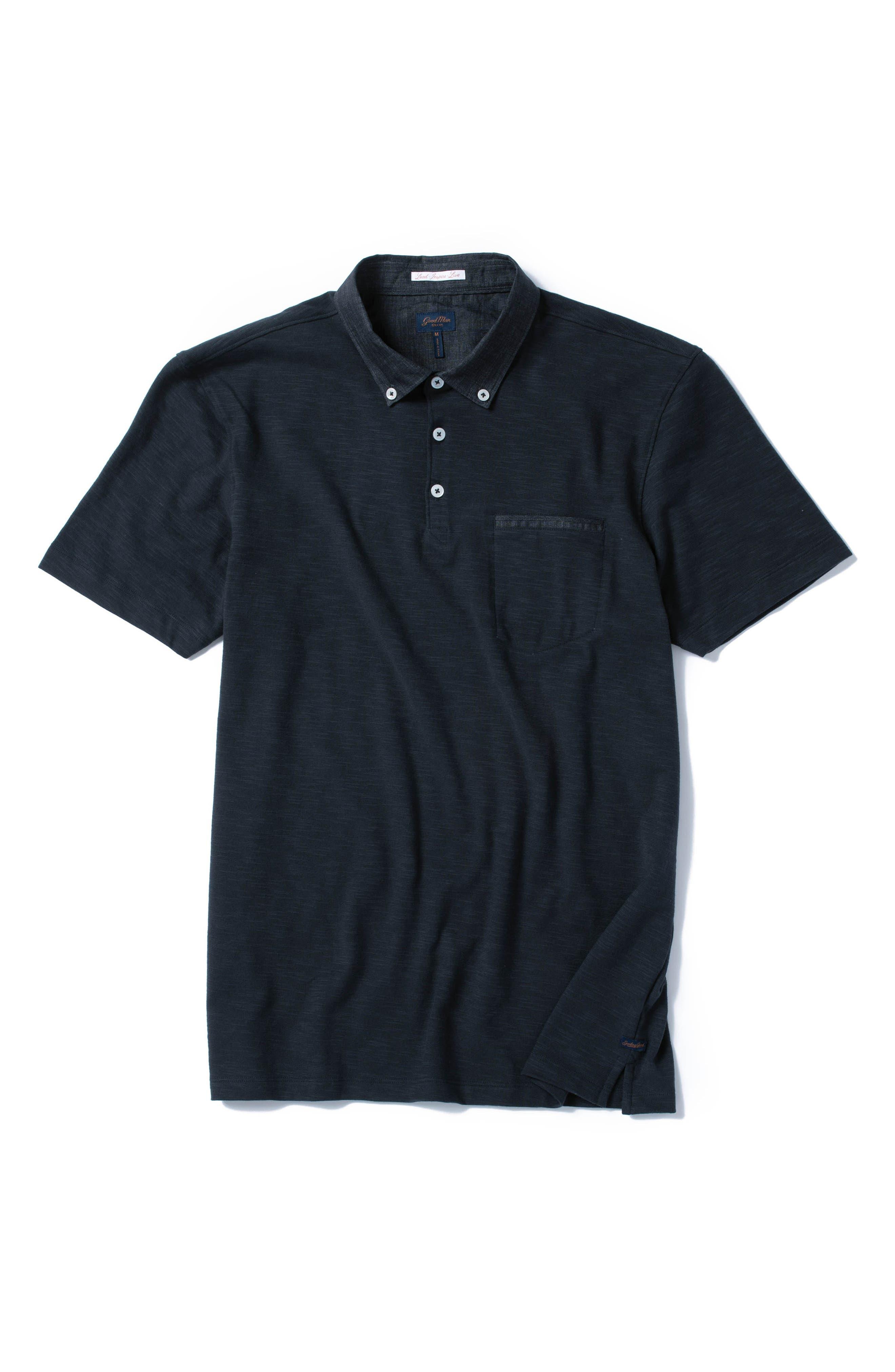 GOOD MAN BRAND, Slub Jersey Cotton Polo Shirt, Alternate thumbnail 6, color, BLACK