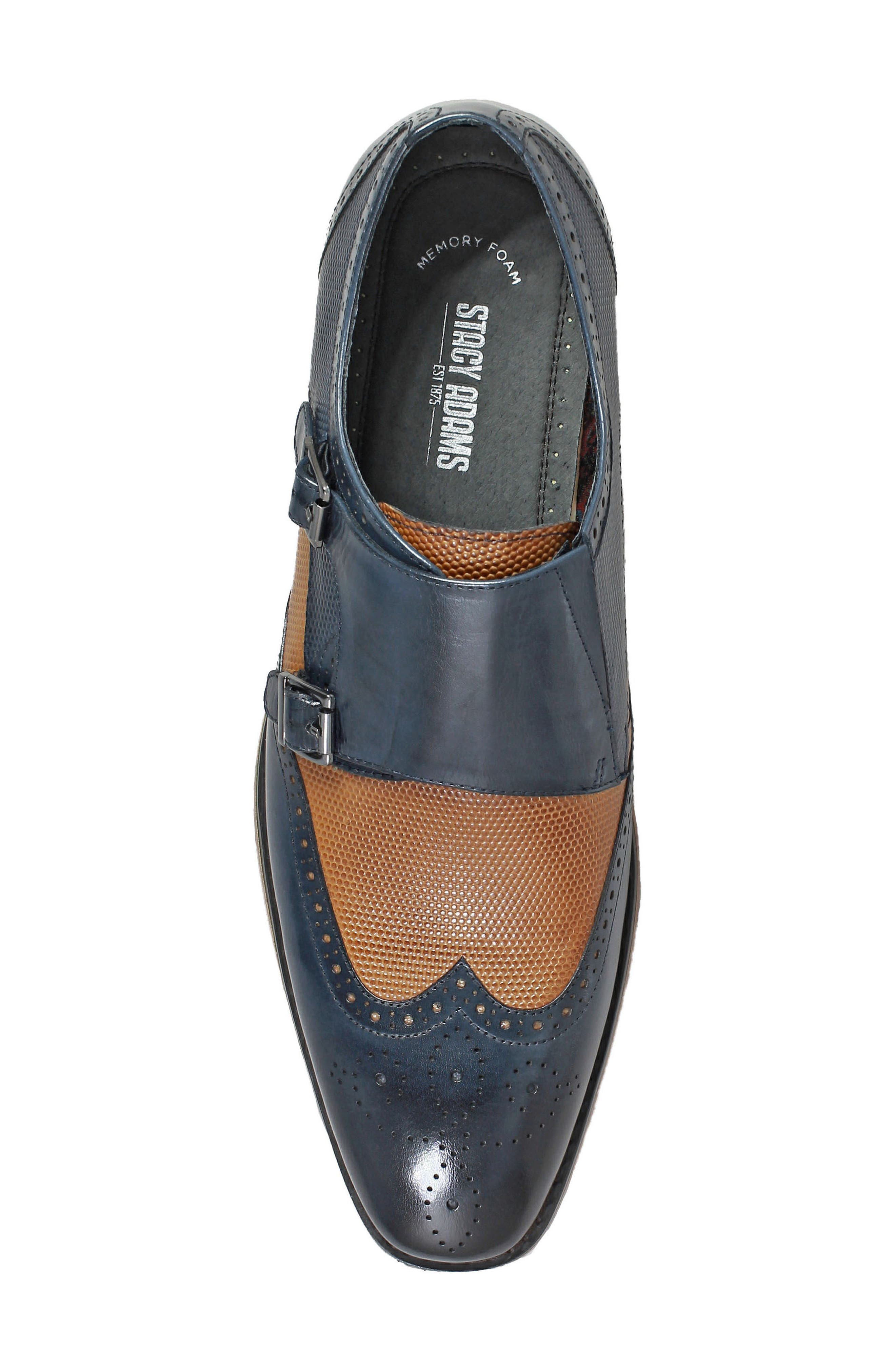 STACY ADAMS, Lavine Wingtip Monk Shoe, Alternate thumbnail 5, color, NAVY AND SADDLE TAN LEATHER