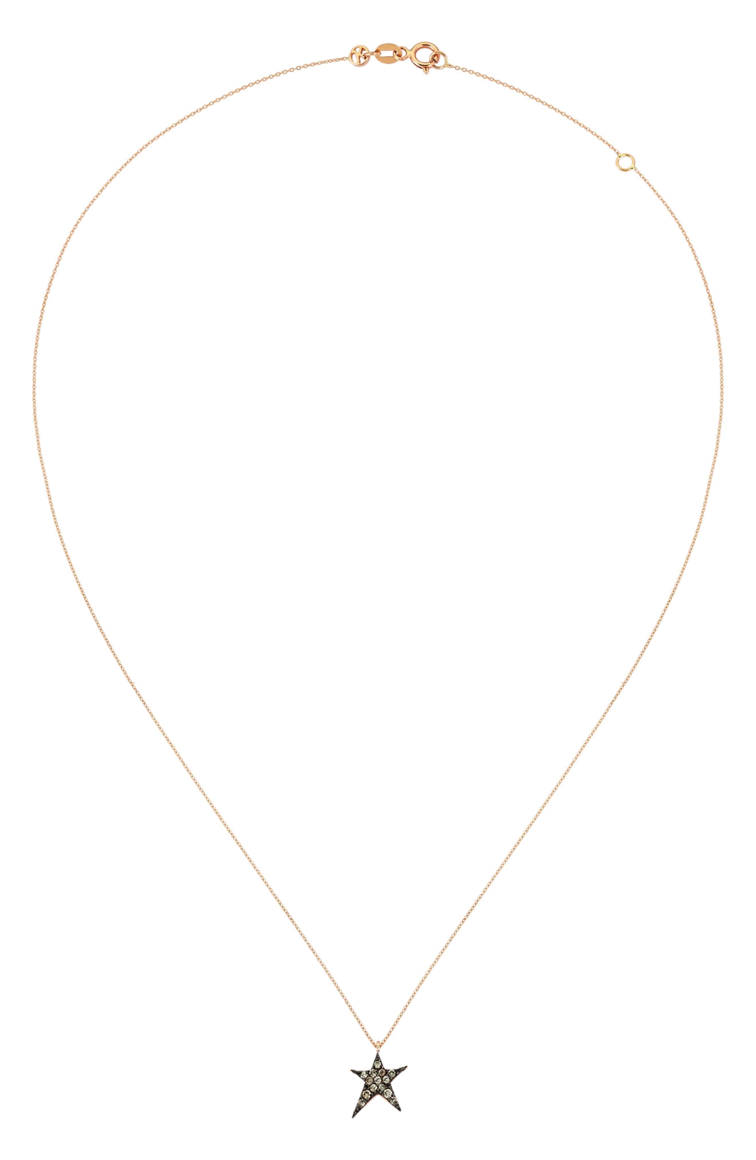 KISMET BY MILKA, Struck Star Champagne Diamond Necklace, Alternate thumbnail 2, color, ROSE GOLD