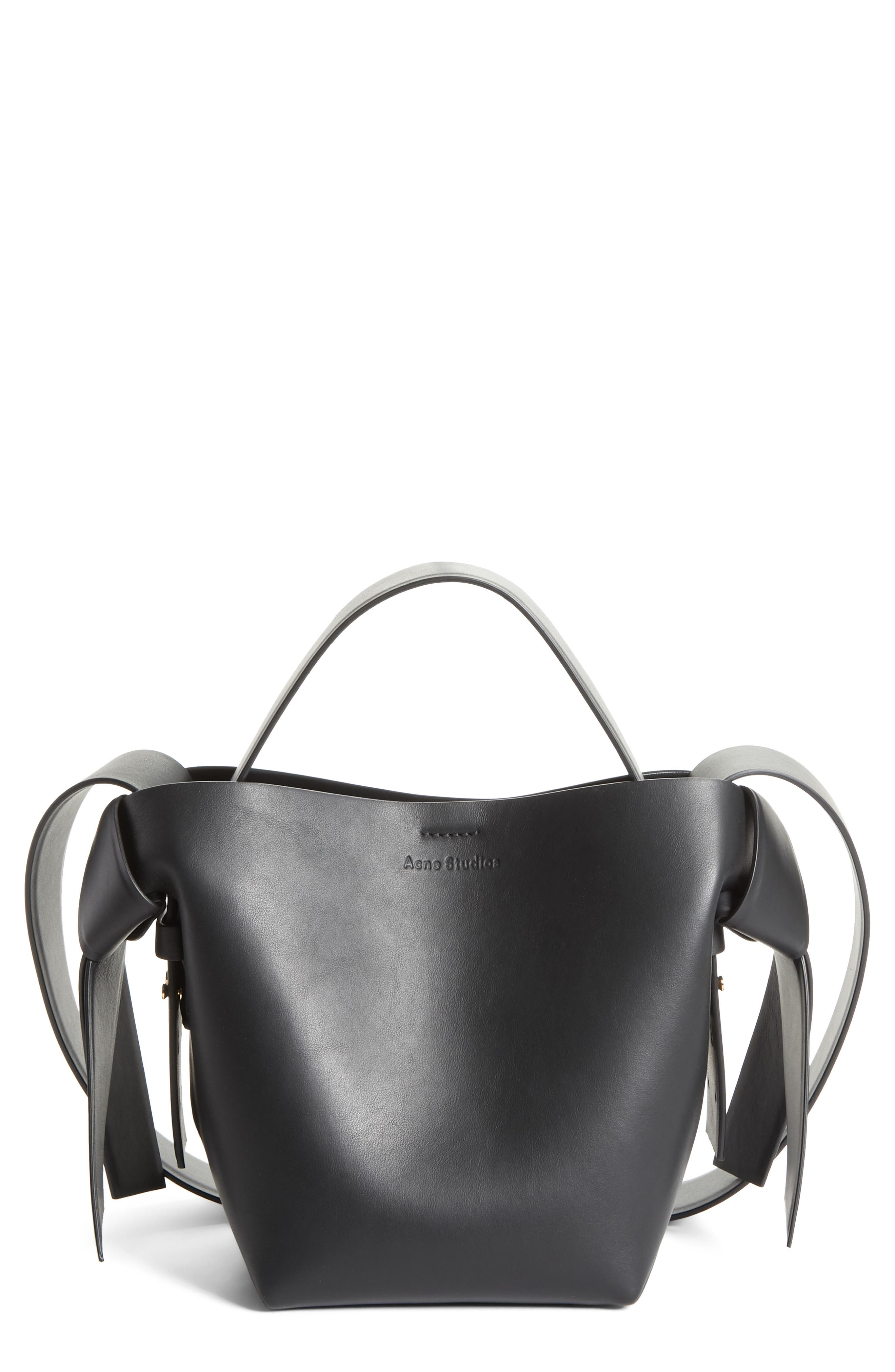ACNE STUDIOS, Musubi Leather Mini Bag, Main thumbnail 1, color, BLACK