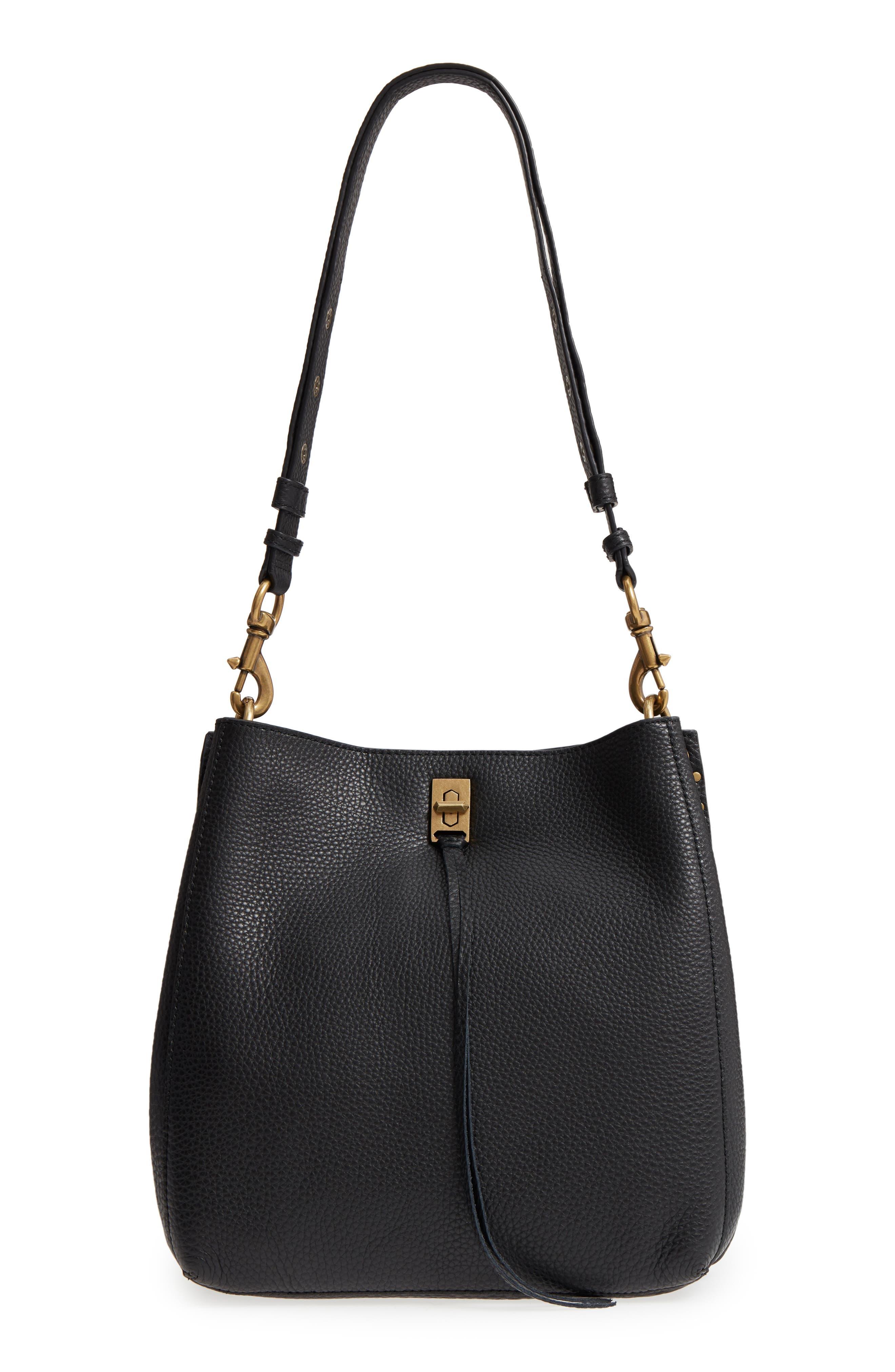 REBECCA MINKOFF Darren Deerskin Leather Shoulder Bag, Main, color, BLACK