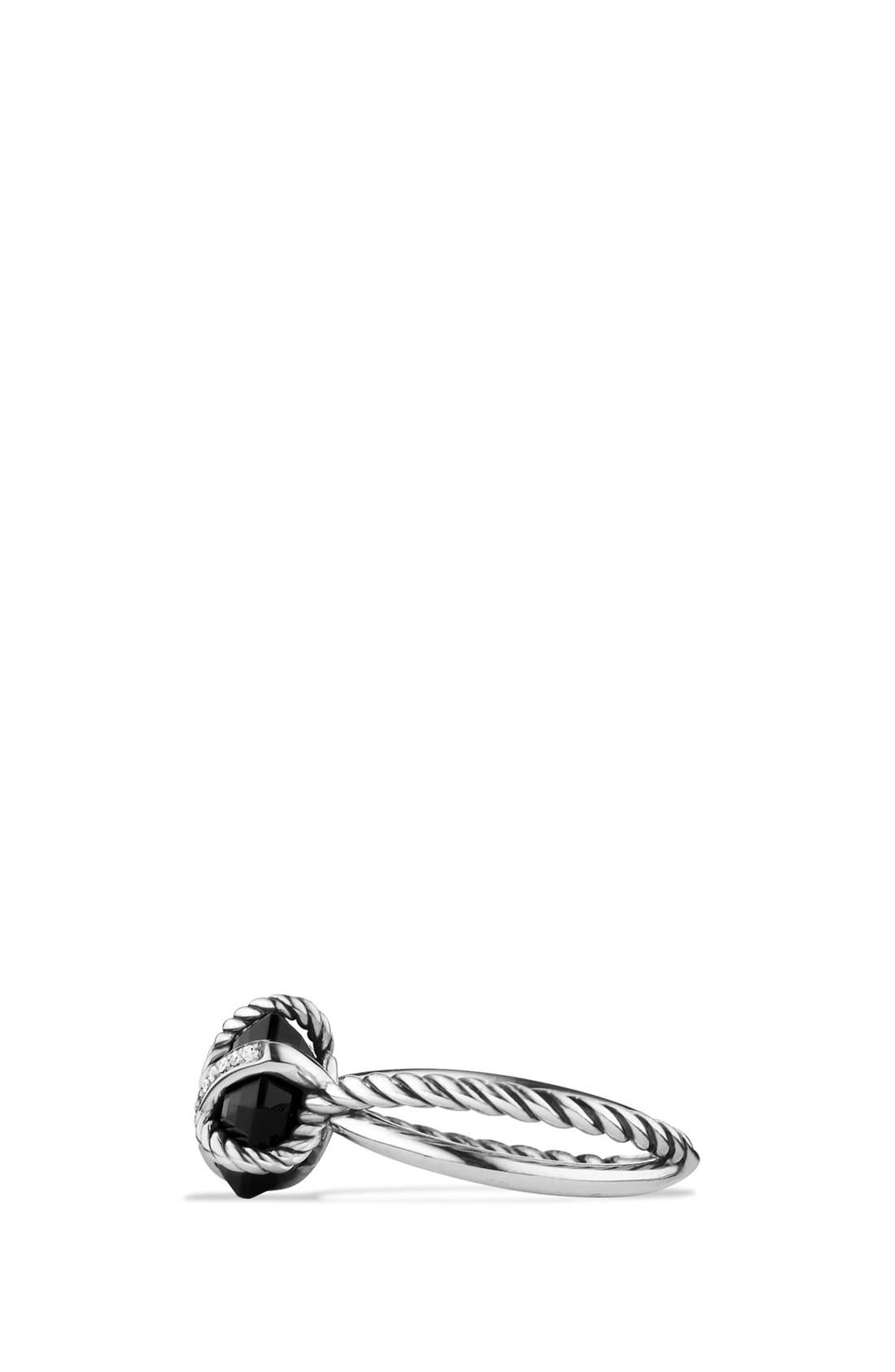 DAVID YURMAN, Cable Wrap Ring with Semiprecious Stone and Diamonds, Alternate thumbnail 3, color, BLACK ONYX