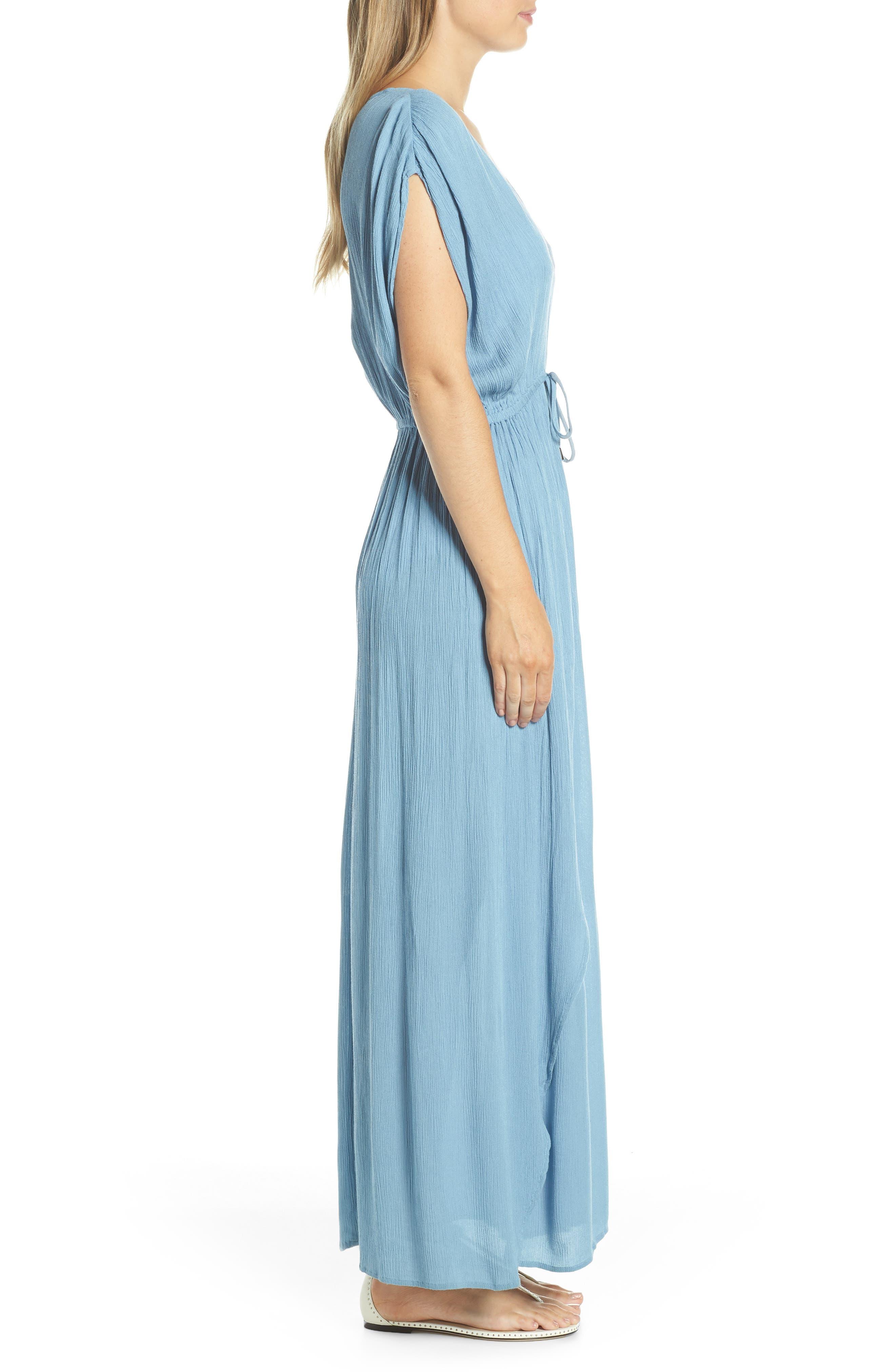 ELAN, Wrap Maxi Cover-Up Dress, Alternate thumbnail 3, color, WASHED BLUE