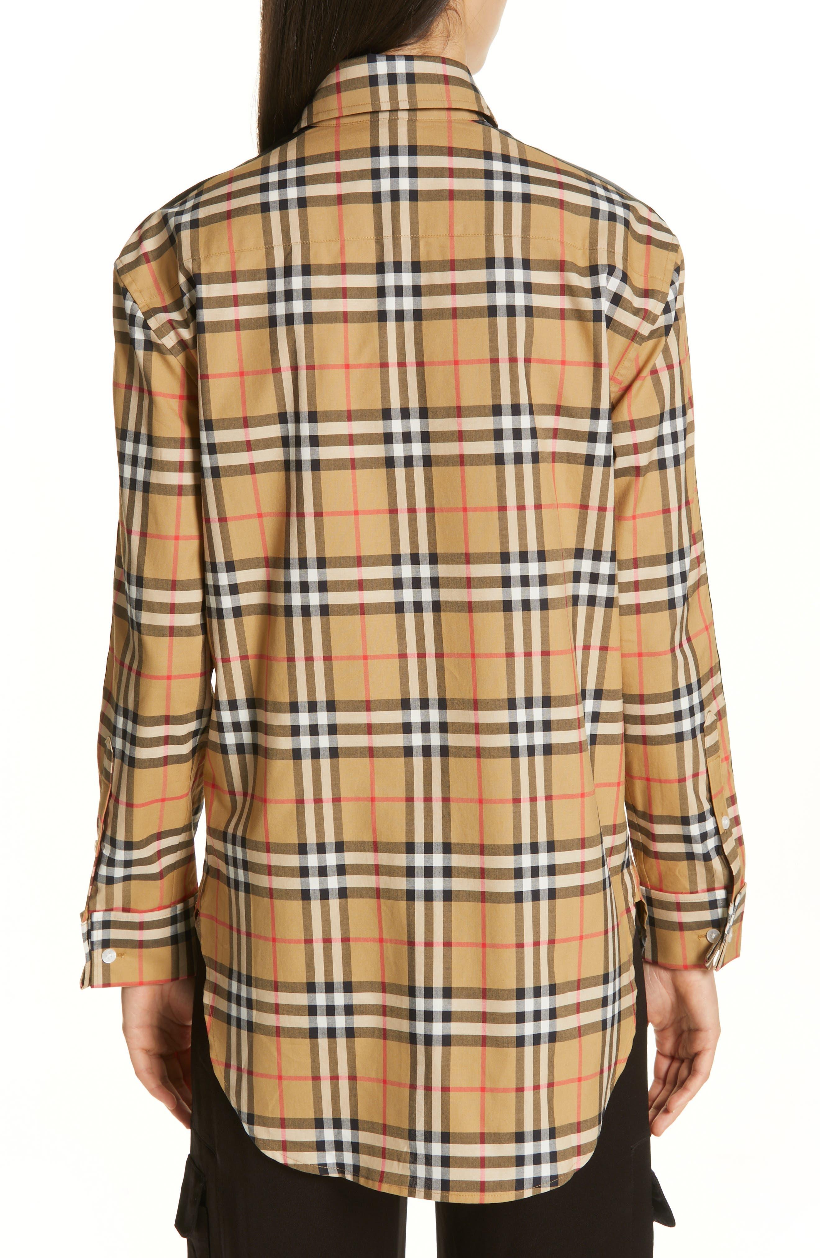 BURBERRY, Saoirse Vintage Check Cotton Shirt, Alternate thumbnail 2, color, ANTIQUE YELLOW CHECK