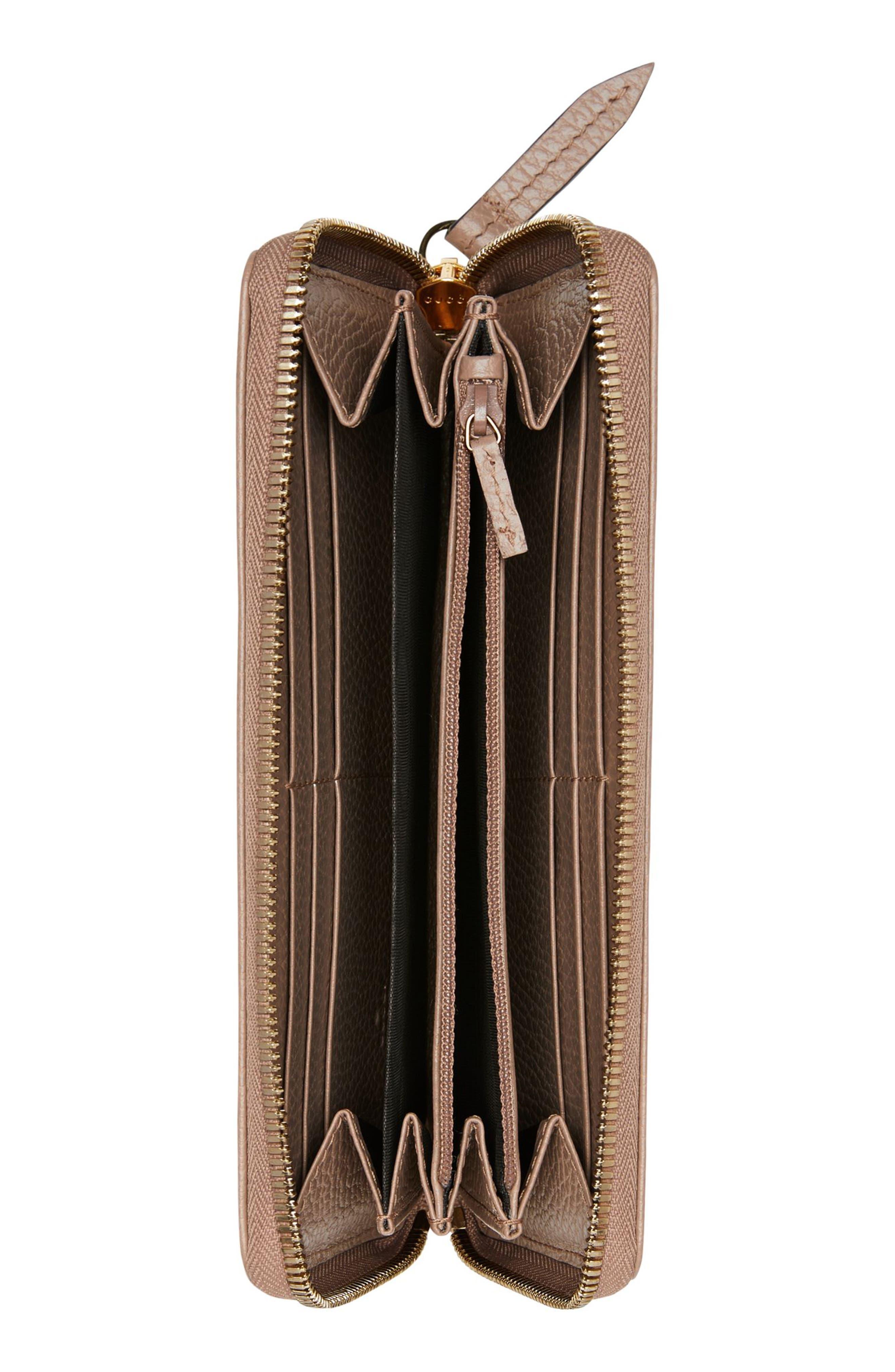 GUCCI, Petite Marmont Leather Zip Around Wallet, Alternate thumbnail 2, color, PORCELAIN ROSE