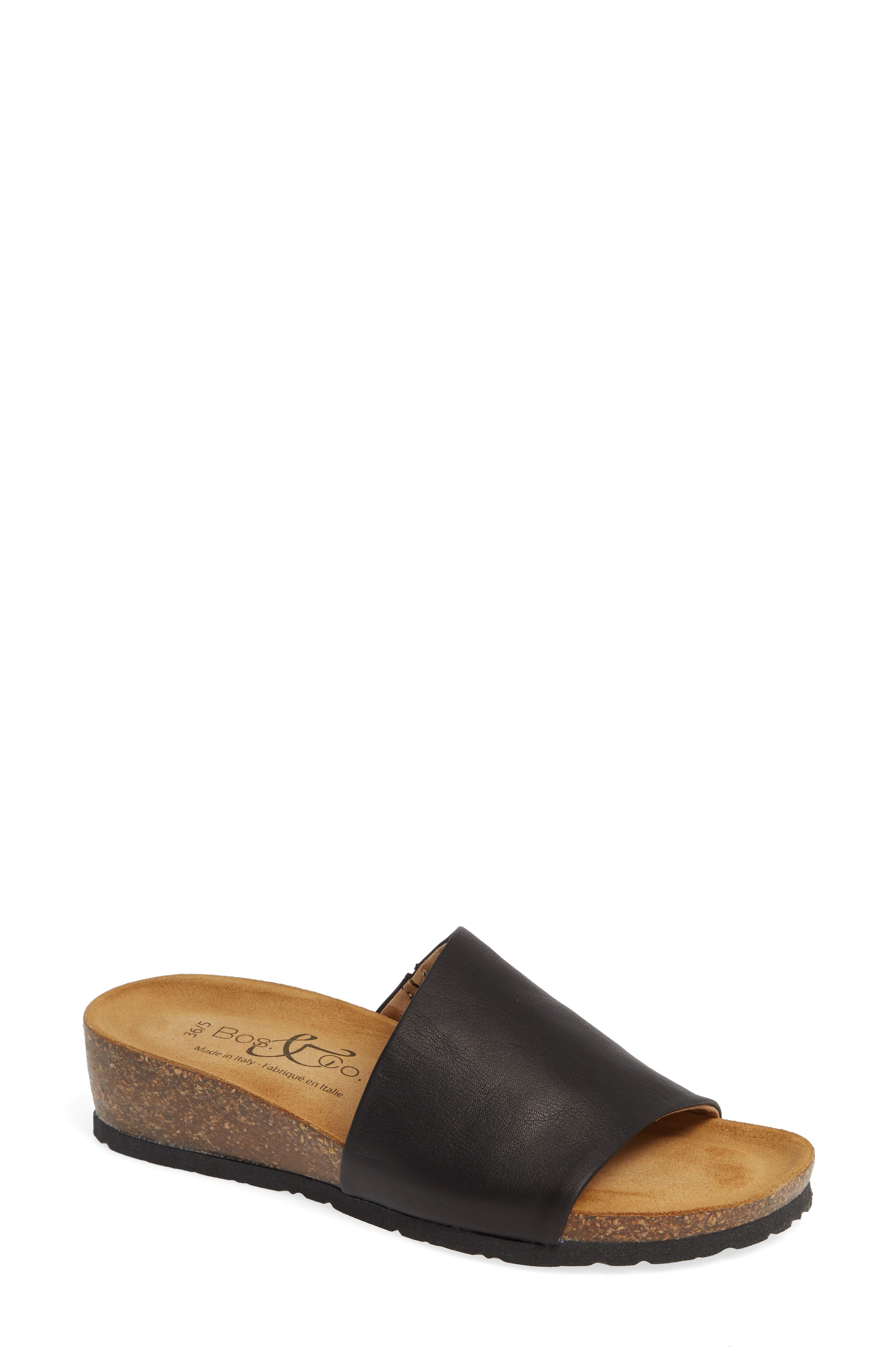 BOS. & CO. Lux Slide Sandal, Main, color, BLACK NAPPA LEATHER