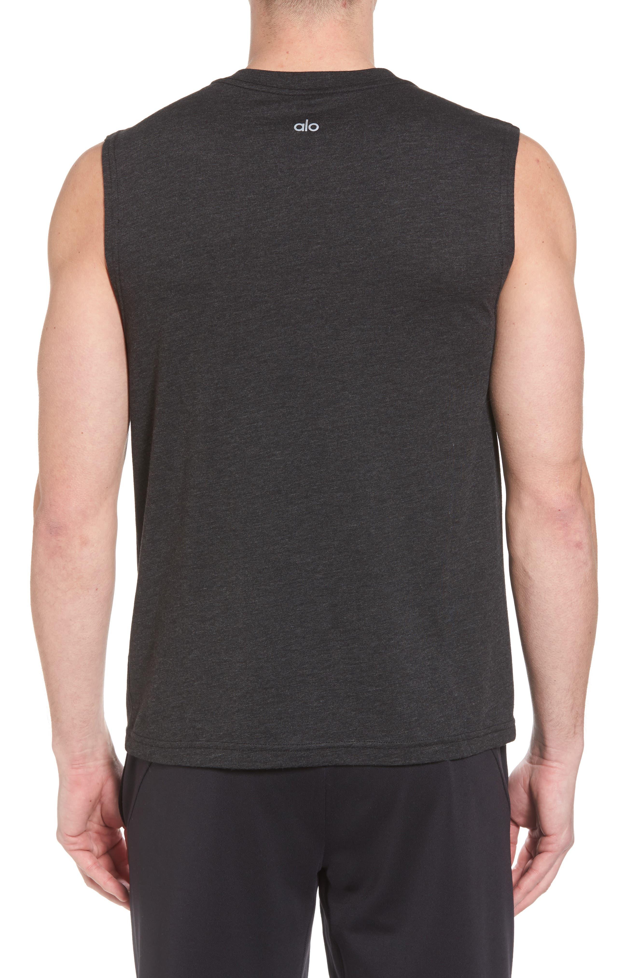 ALO, The Triumph Sleeveless T-Shirt, Alternate thumbnail 2, color, CHARCOAL BLACK TRIBLEND