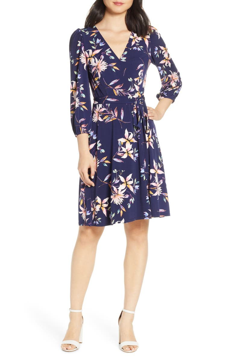 petite Fit & Flare Dress, Main, color, NAVY