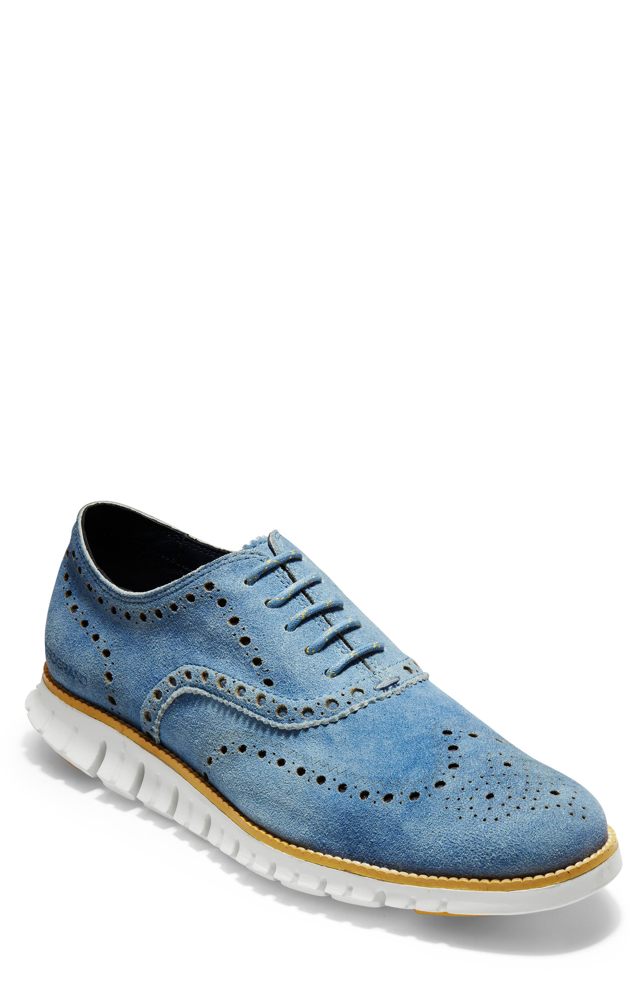 COLE HAAN 'ZeroGrand' Wingtip Oxford, Main, color, DENIM BLUE SUEDE