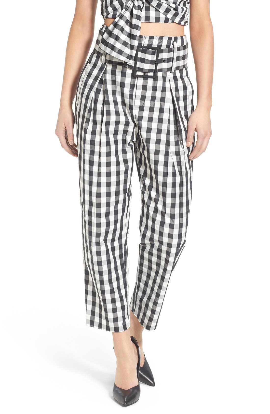KENDALL + KYLIE Gingham High Rise Crop Pants, Main, color, 003