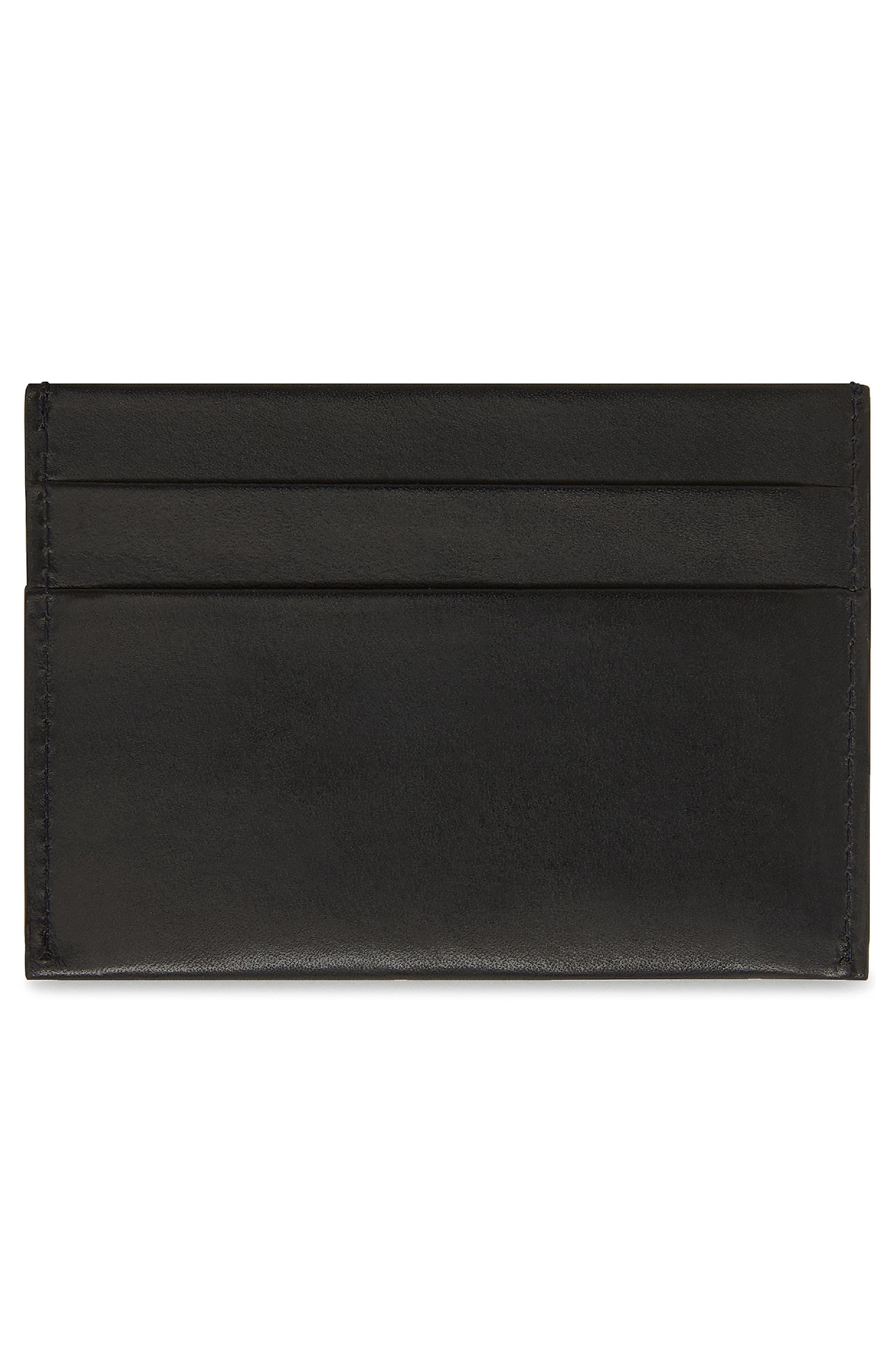 MANSUR GAVRIEL, Leather Card Holder, Alternate thumbnail 2, color, BLACK