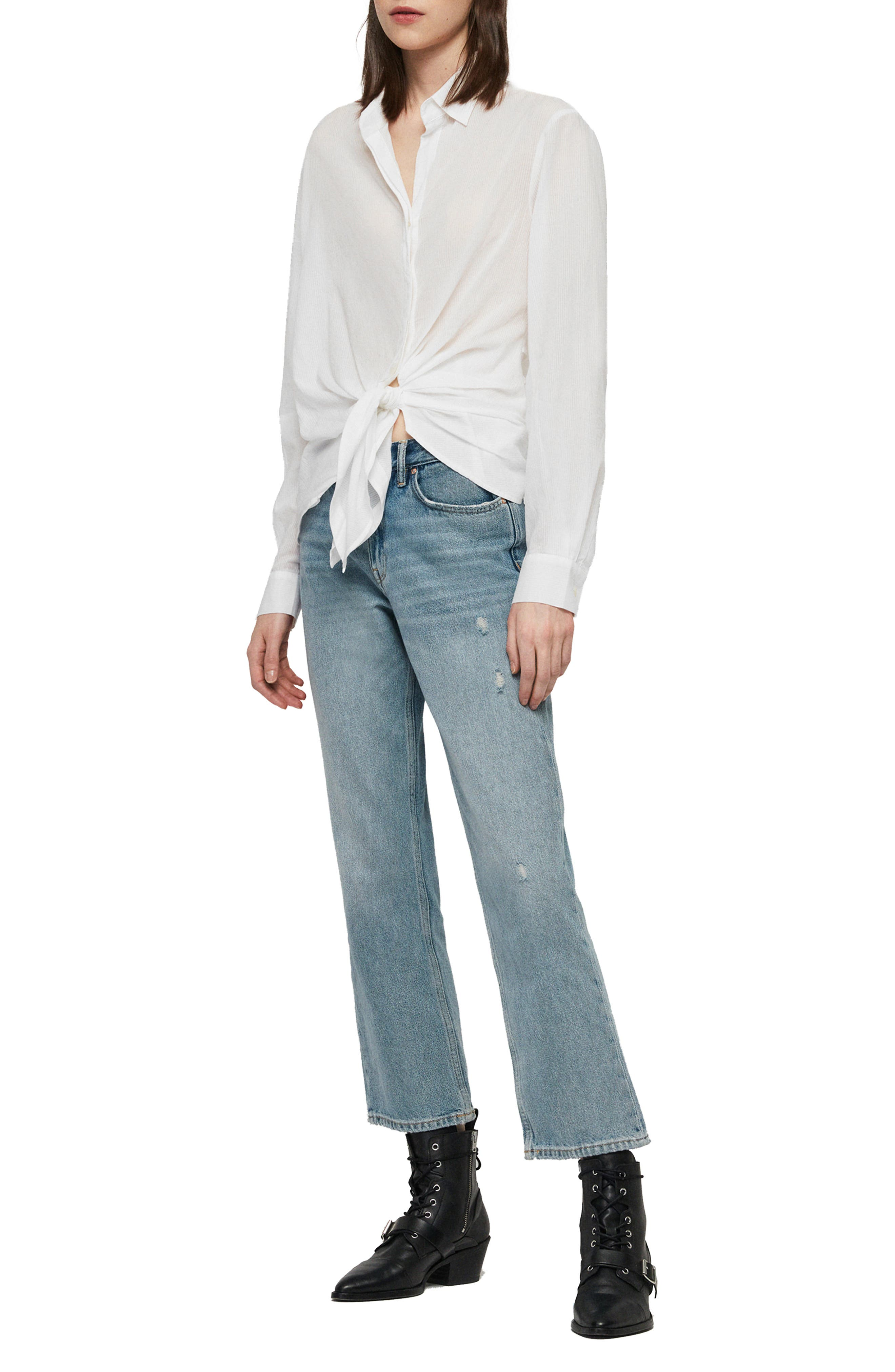 ALLSAINTS, Sirena Front Tie Shirt, Alternate thumbnail 4, color, CHALK WHITE