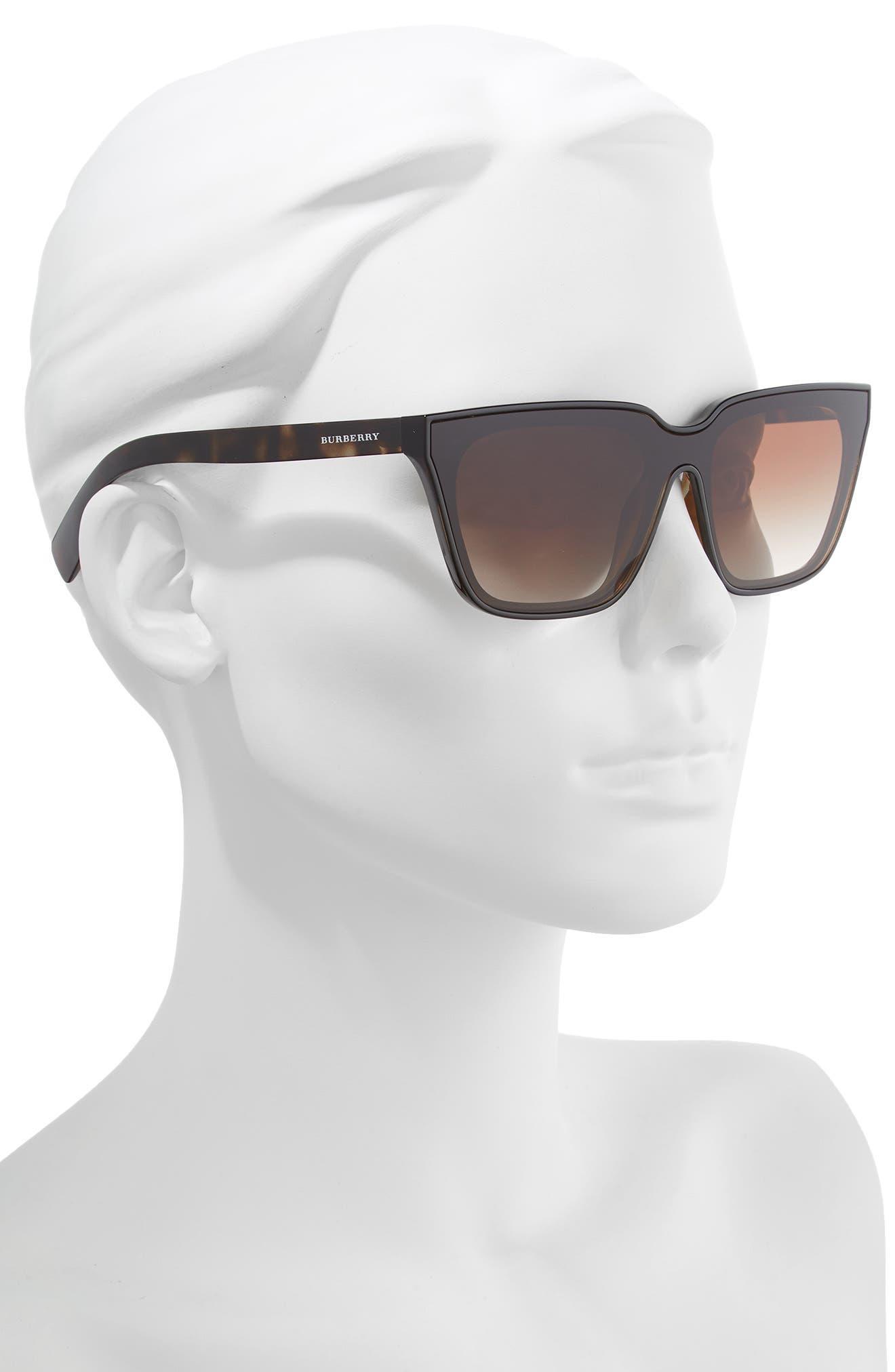 BURBERRY, 40mm Square Sunglasses, Alternate thumbnail 2, color, BLACK/ DARK HAVANA GRADIENT