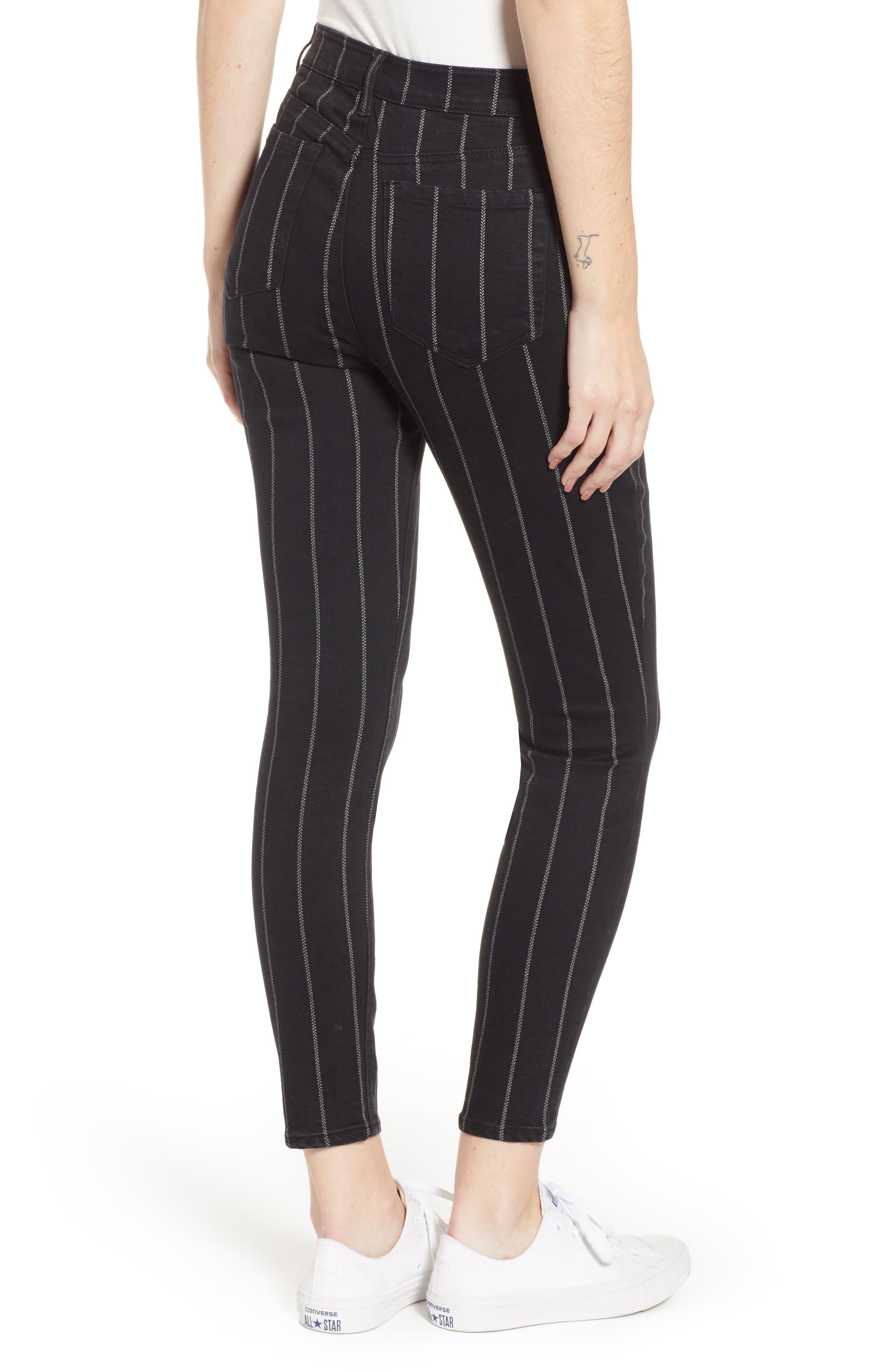 TINSEL, Stripe High Rise Skinny Jeans, Alternate thumbnail 2, color, 001