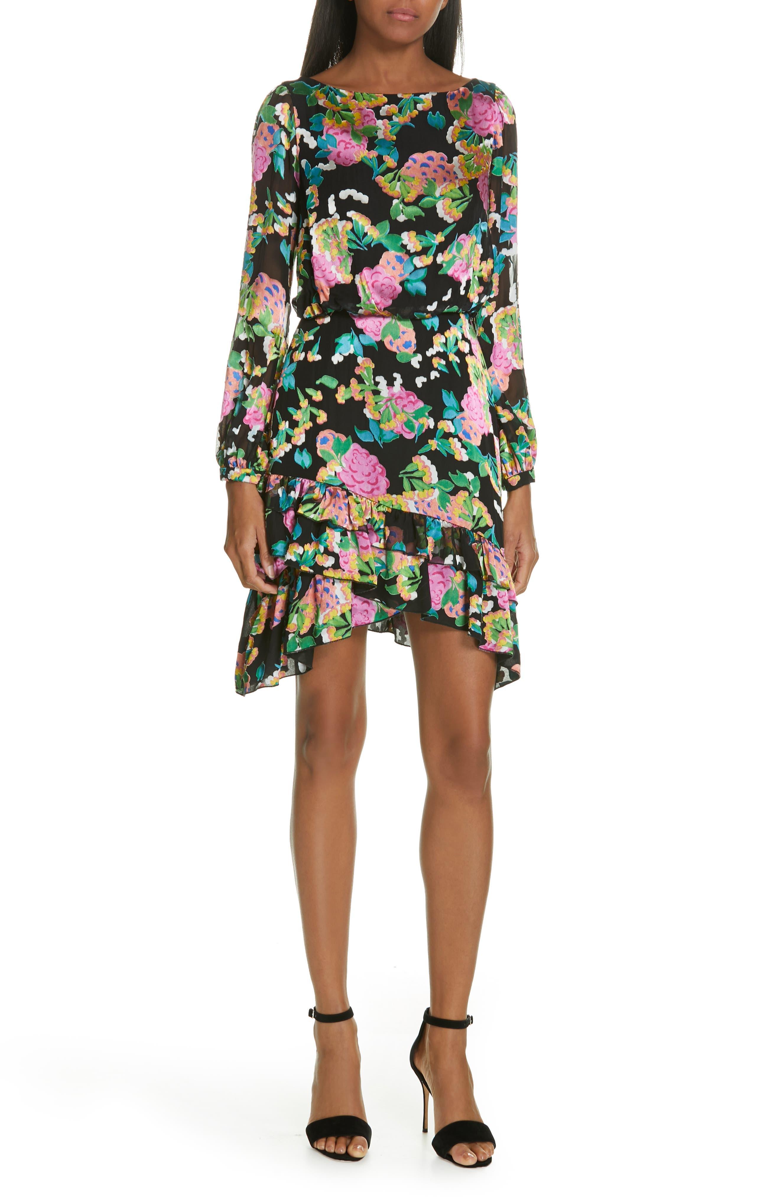 SALONI, Felicia Asymmetrical Silk Blend Dress, Main thumbnail 1, color, HYDRANGEA