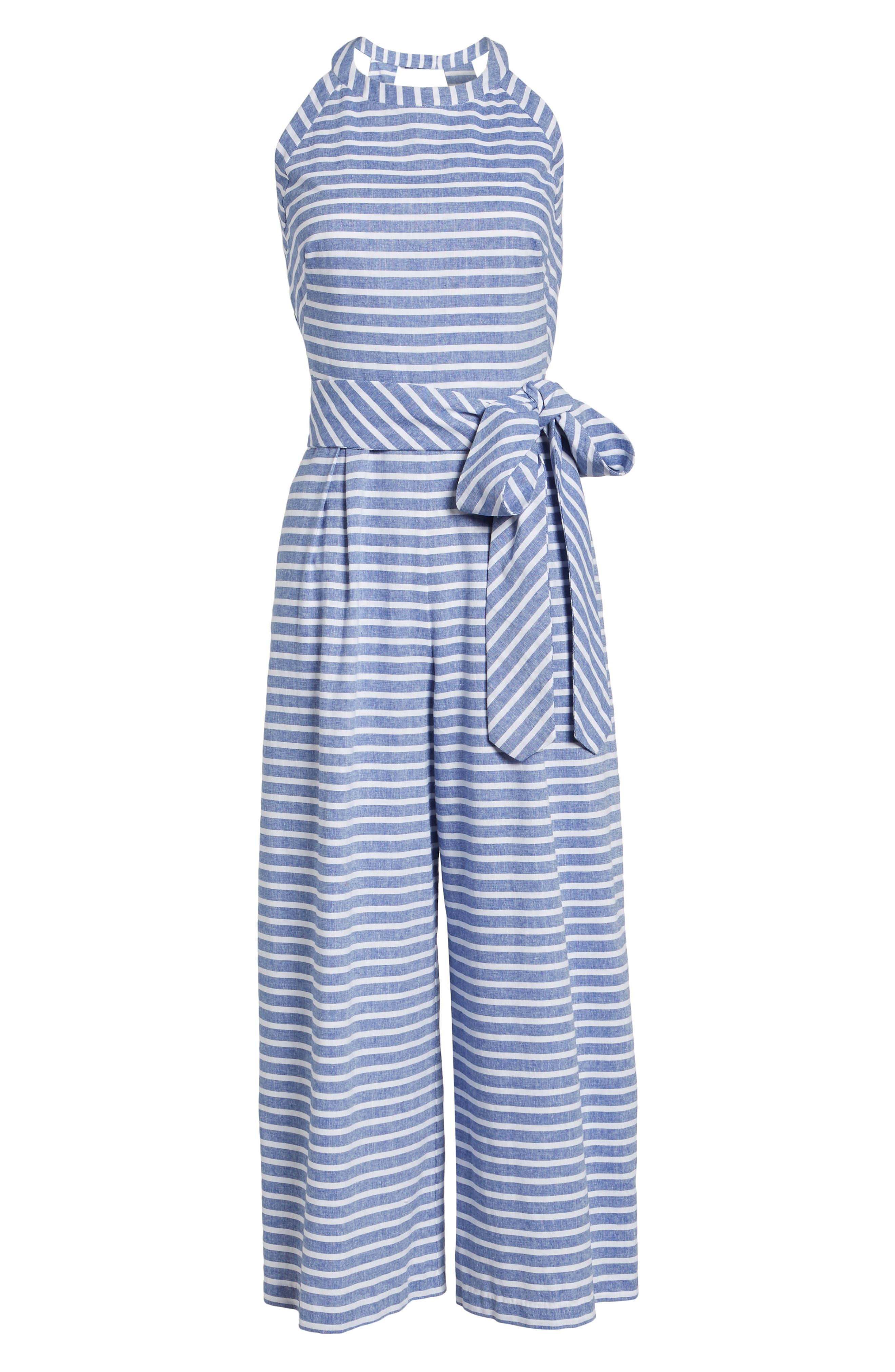 1901, Halter Neck Stripe Crop Jumpsuit, Alternate thumbnail 7, color, NAVY