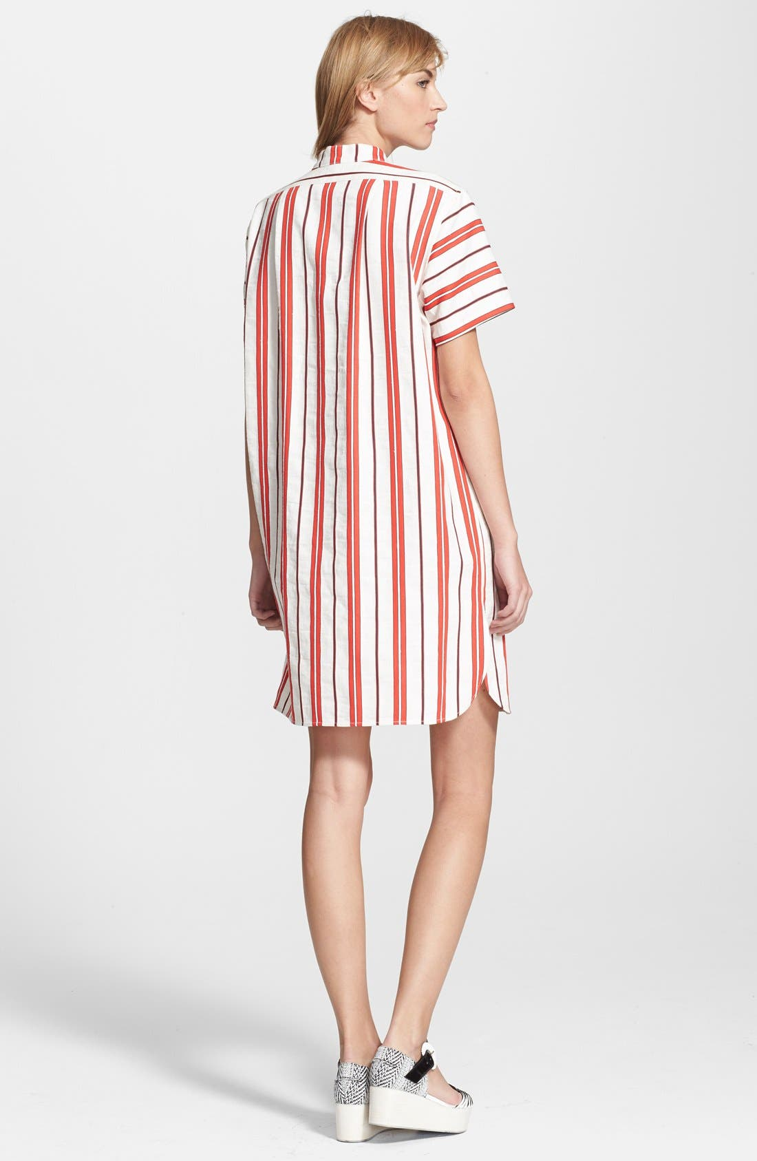 CREATURES OF THE WIND, 'Danae' Stripe Cotton Linen Shirtdress, Alternate thumbnail 5, color, 601