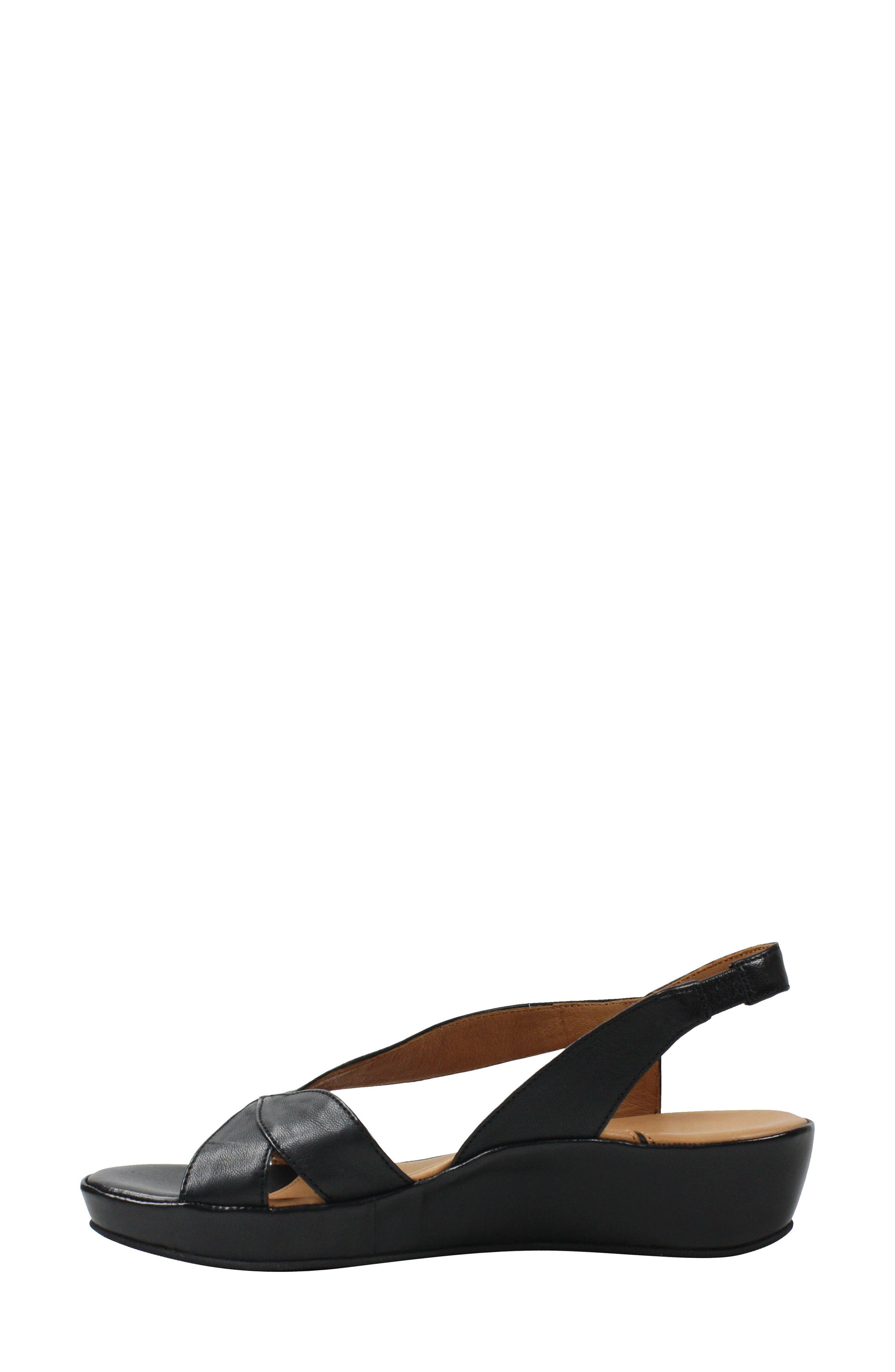 L'AMOUR DES PIEDS, Crotono Sandal, Alternate thumbnail 7, color, BLACK NAPPA LEATHER