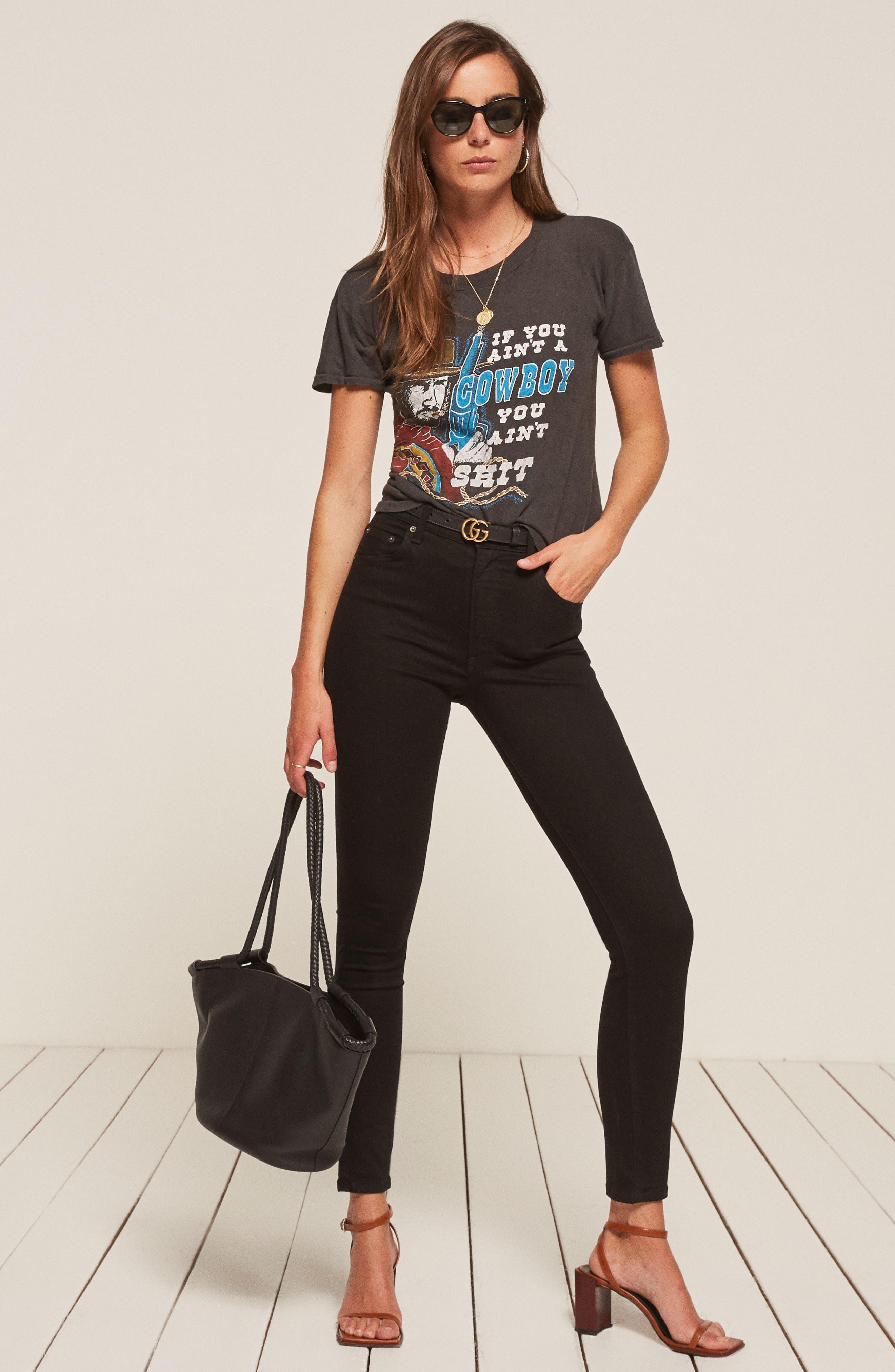 REFORMATION, High & Skinny Jeans, Alternate thumbnail 6, color, BLACK
