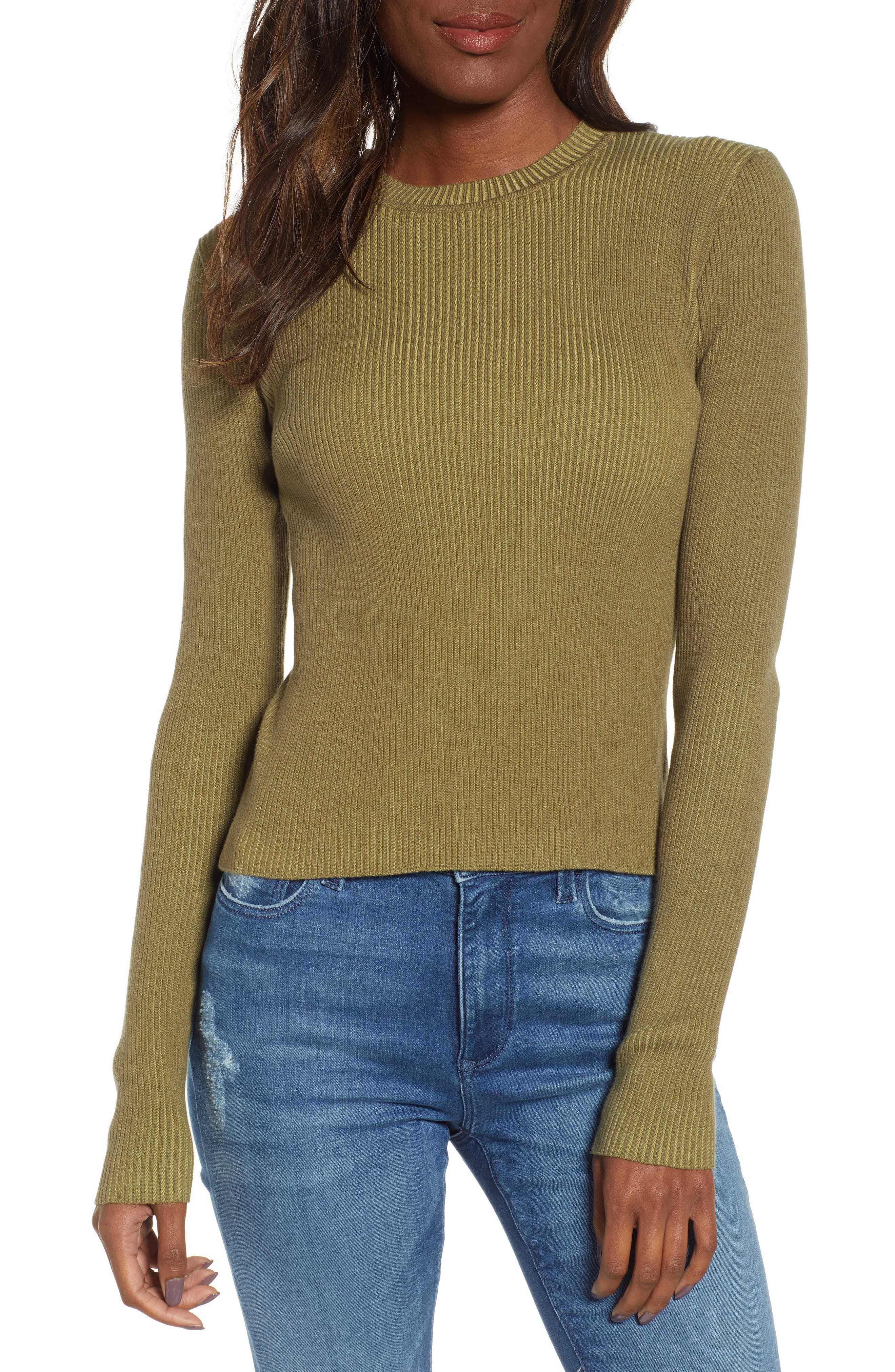 BP. Plaited Rib Sweater, Main, color, OLIVE BURNT