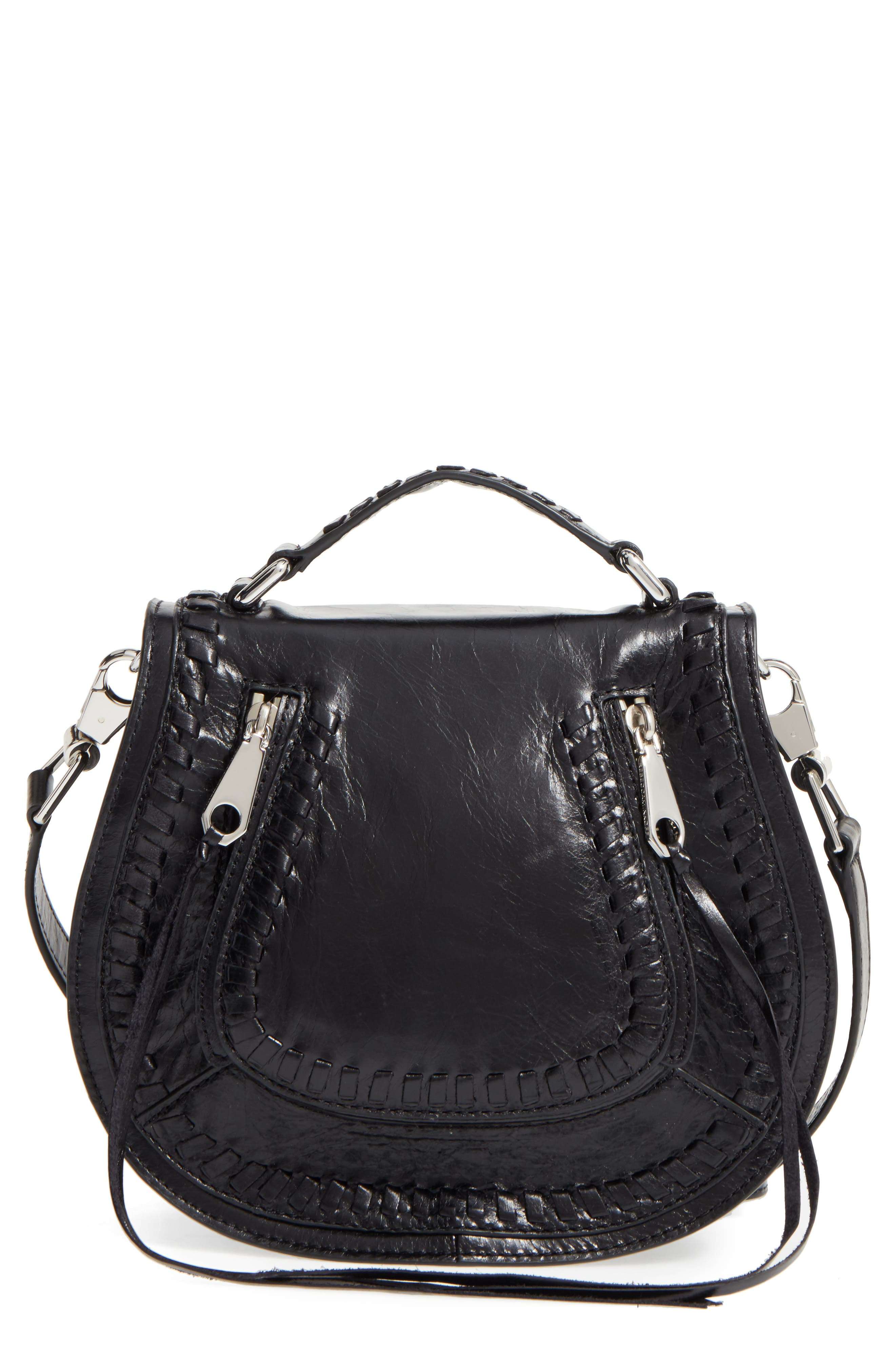 REBECCA MINKOFF, Small Vanity Leather Saddle Bag, Main thumbnail 1, color, 001