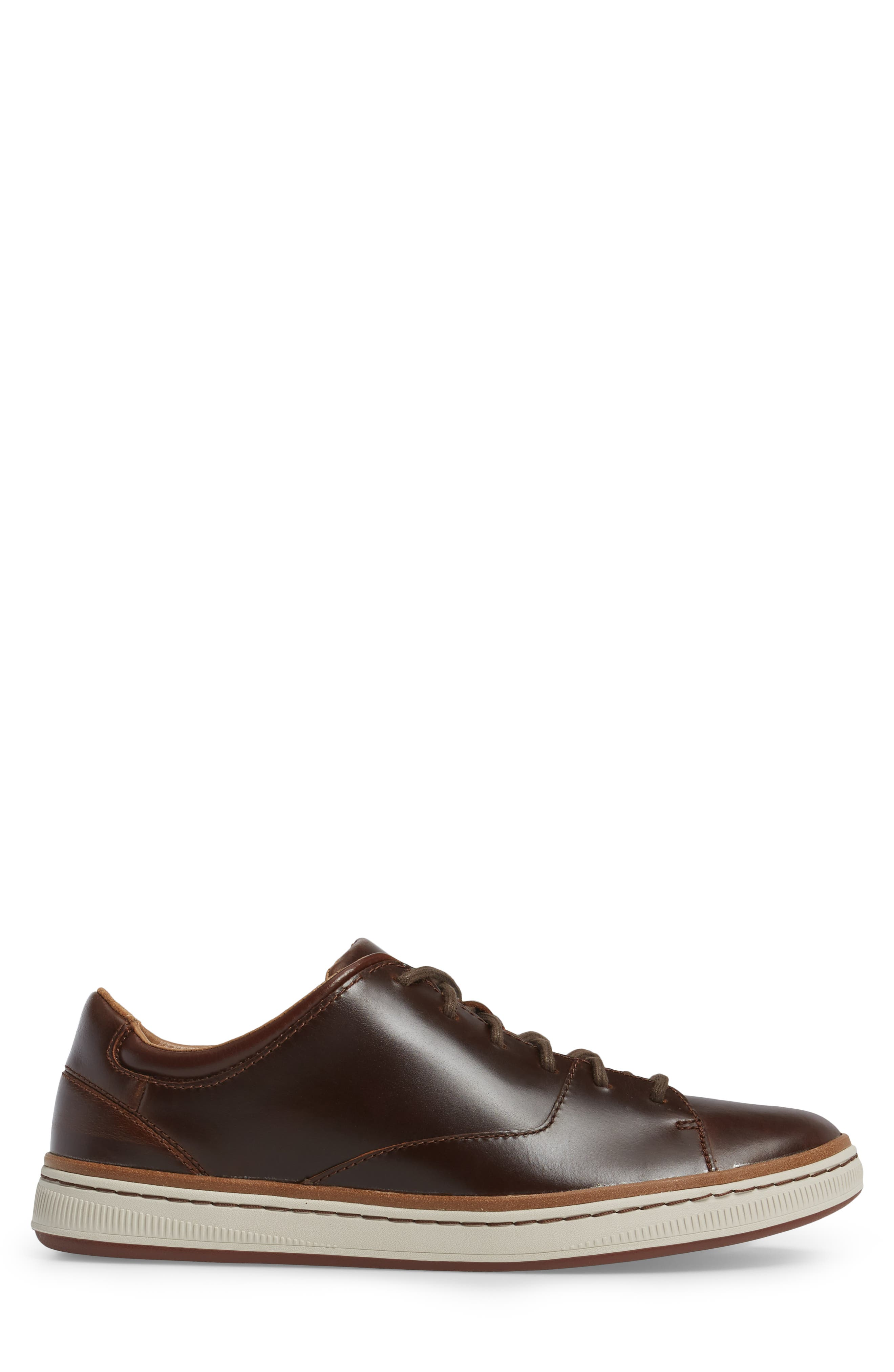 CLARKS<SUP>®</SUP>, Norsen Lace Sneaker, Alternate thumbnail 3, color, DARK TAN LEATHER