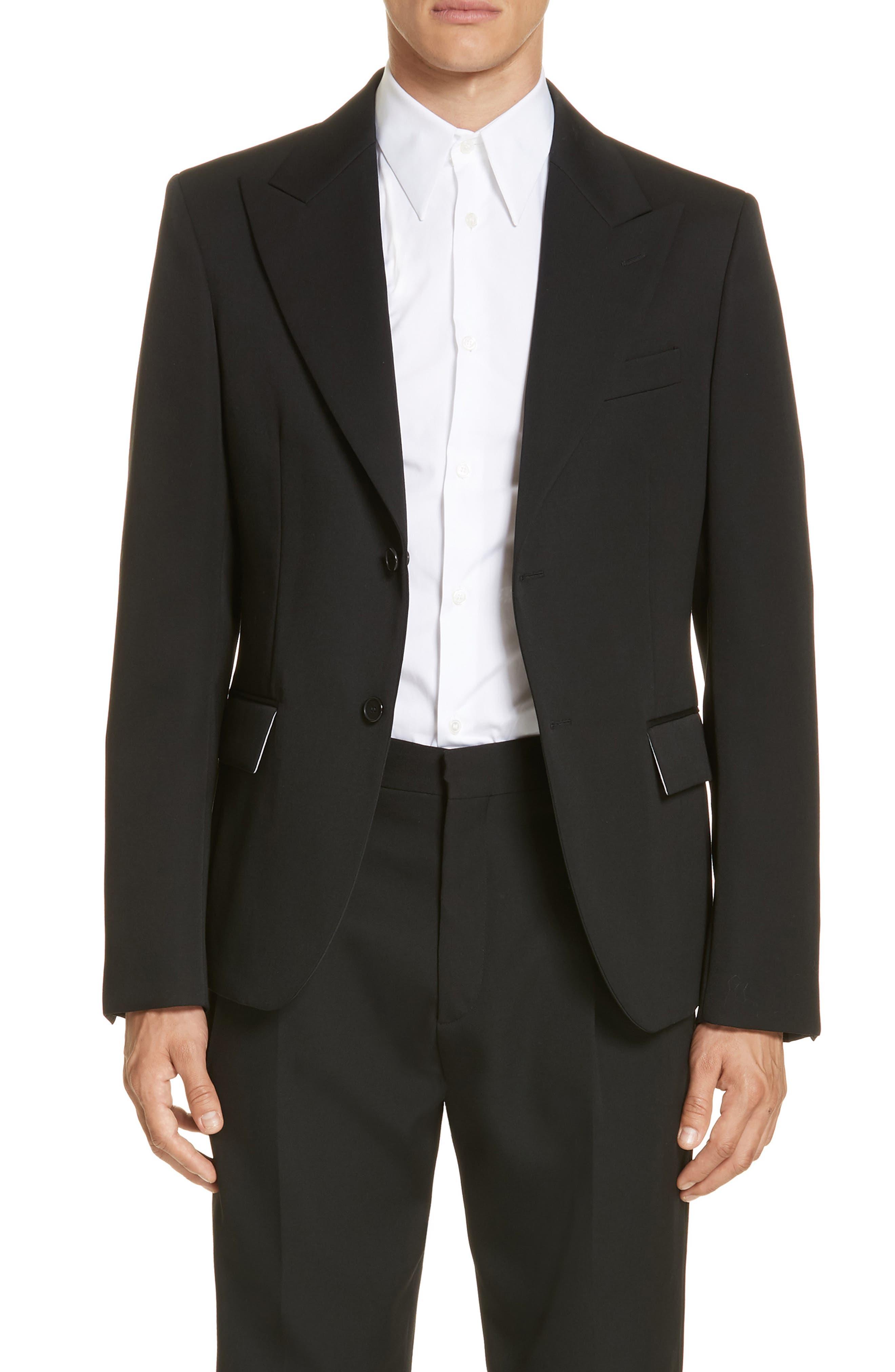 CALVIN KLEIN 205W39NYC Wool Gabardine Blazer, Main, color, BLACK
