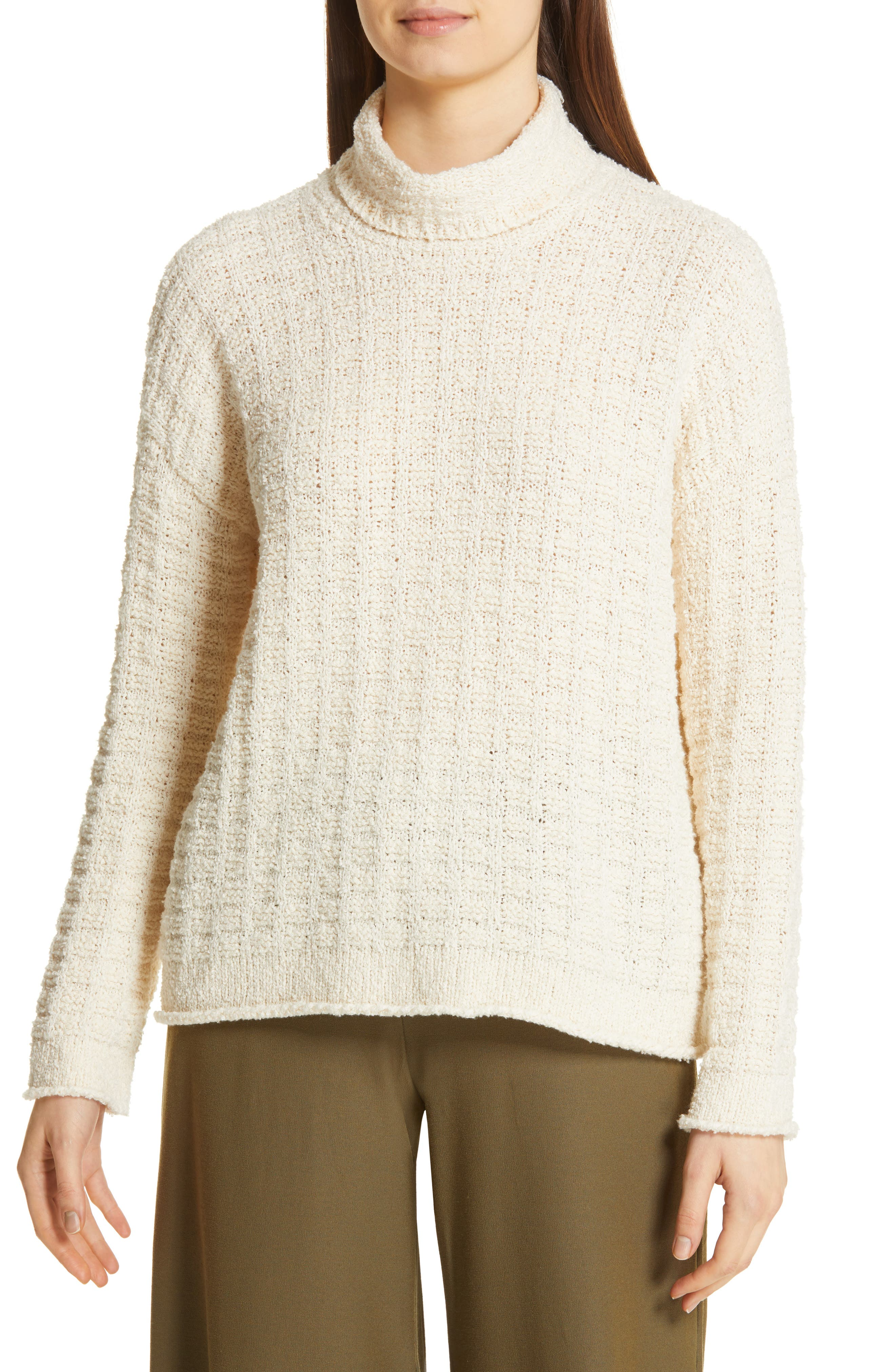 EILEEN FISHER, Funnel Neck Sweater, Main thumbnail 1, color, 100