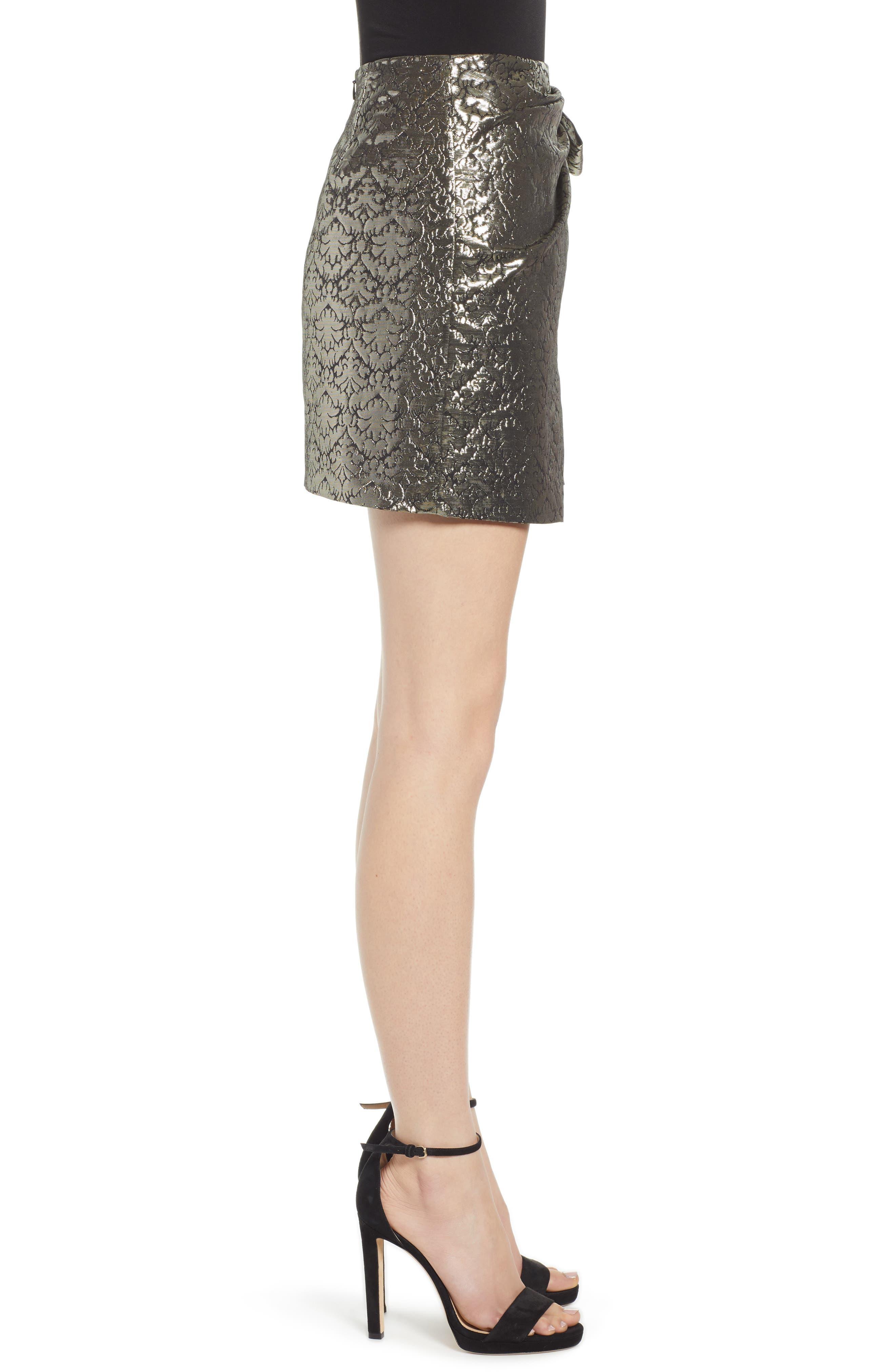 REBECCA MINKOFF, Augustina Shimmering Jacquard Faux Wrap Skirt, Alternate thumbnail 3, color, 710