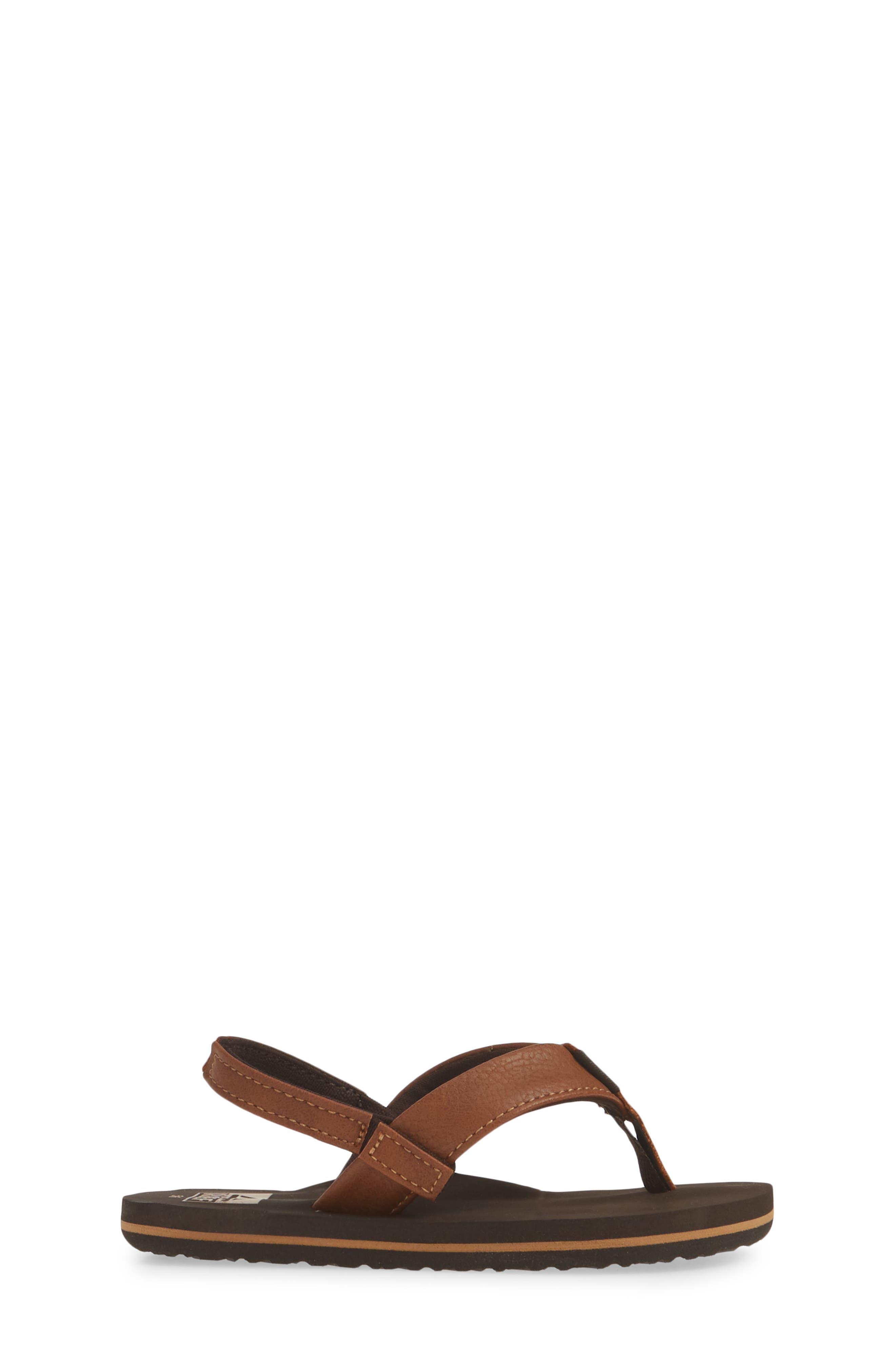 REEF, Twinpin Thong Sandal, Alternate thumbnail 3, color, BROWN
