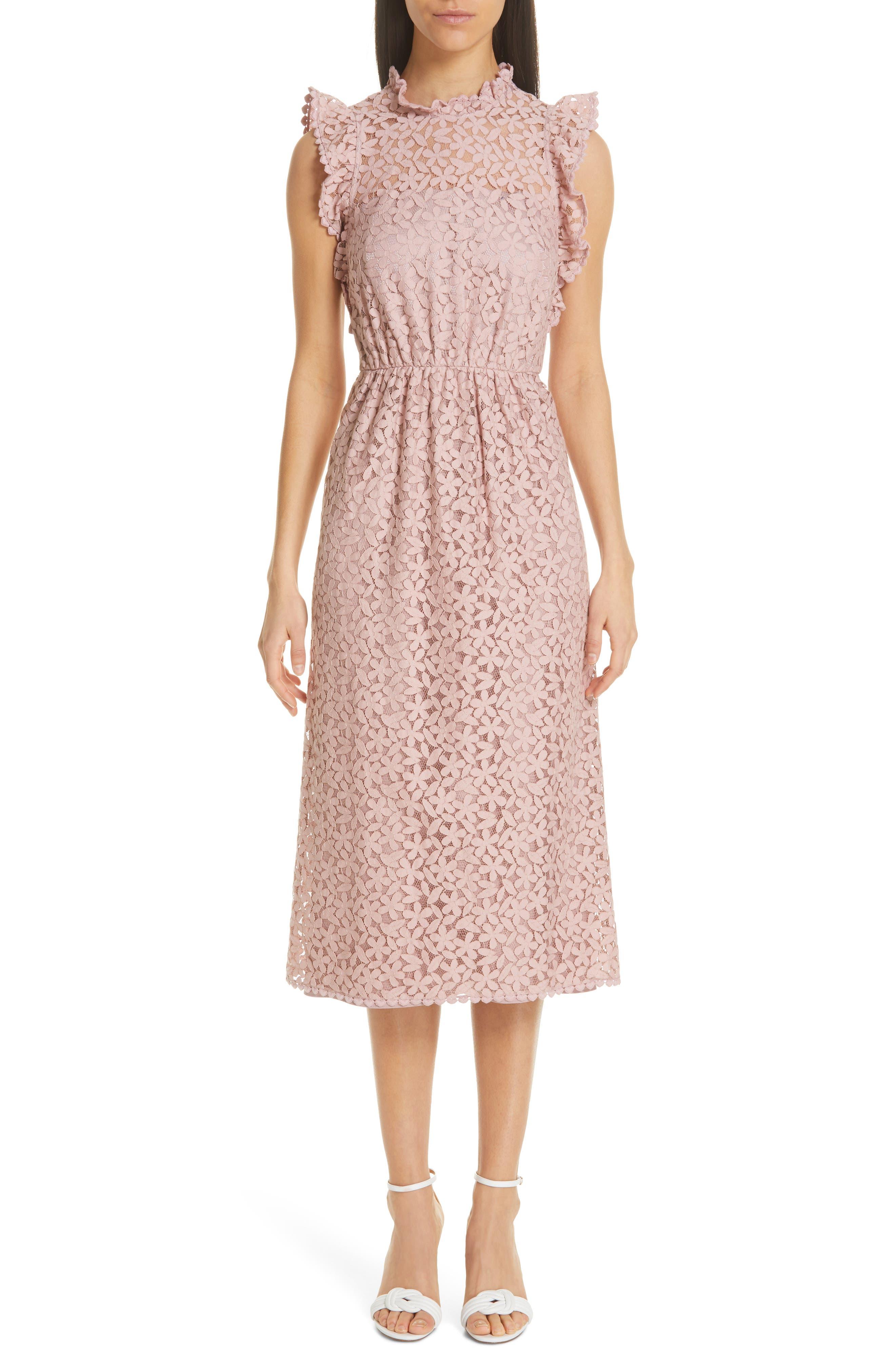 Kate Spade New York Flora Lace Ruffle Dress, Pink