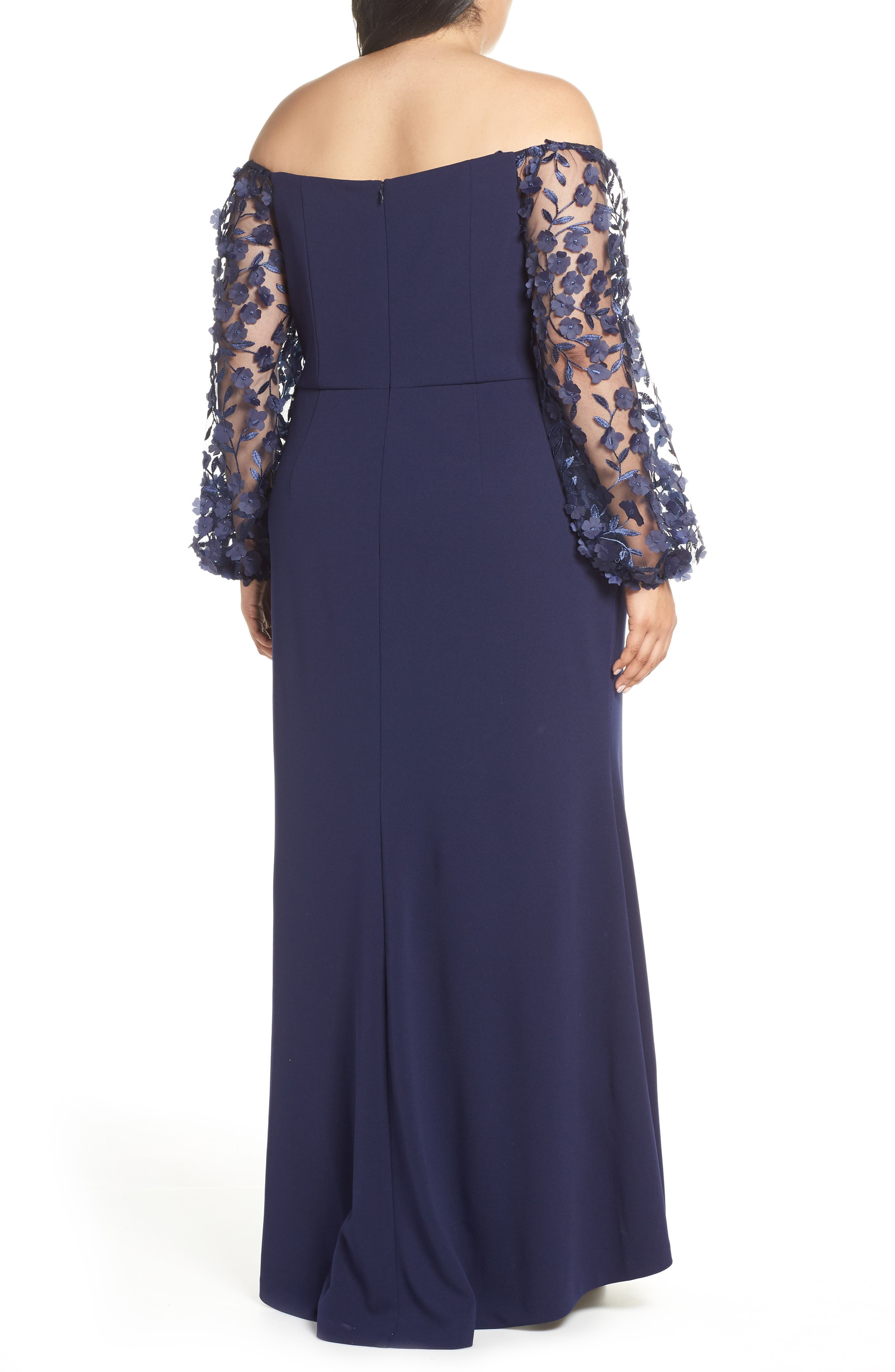 ELIZA J, Off the Shoulder 3D Floral Sleeve Scuba Crepe Evening Dress, Alternate thumbnail 2, color, NAVY