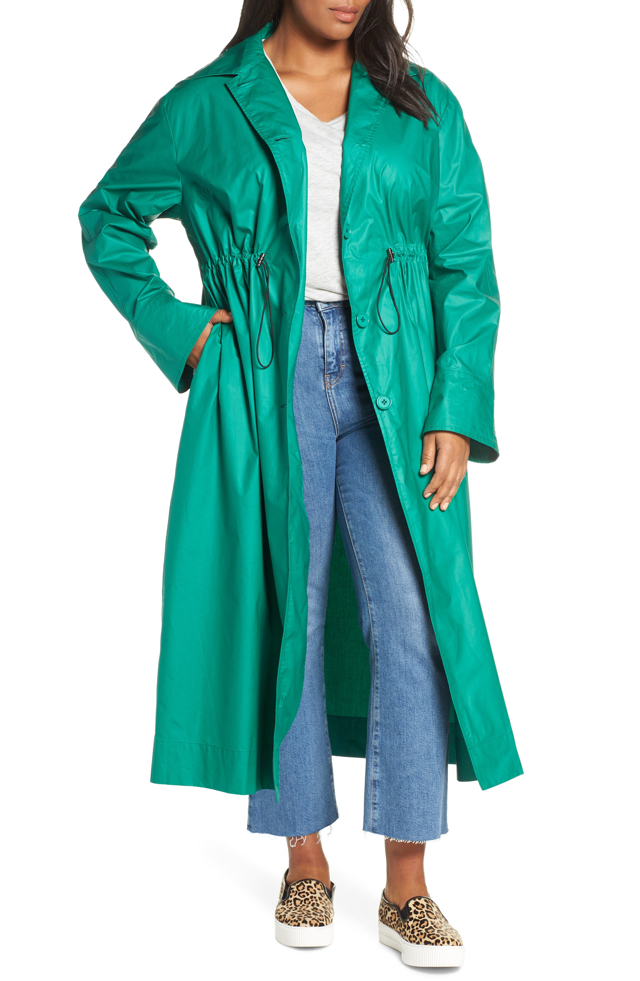HALOGEN<SUP>®</SUP>, Elongated Cotton Overcoat, Main thumbnail 1, color, GREEN ULTRA