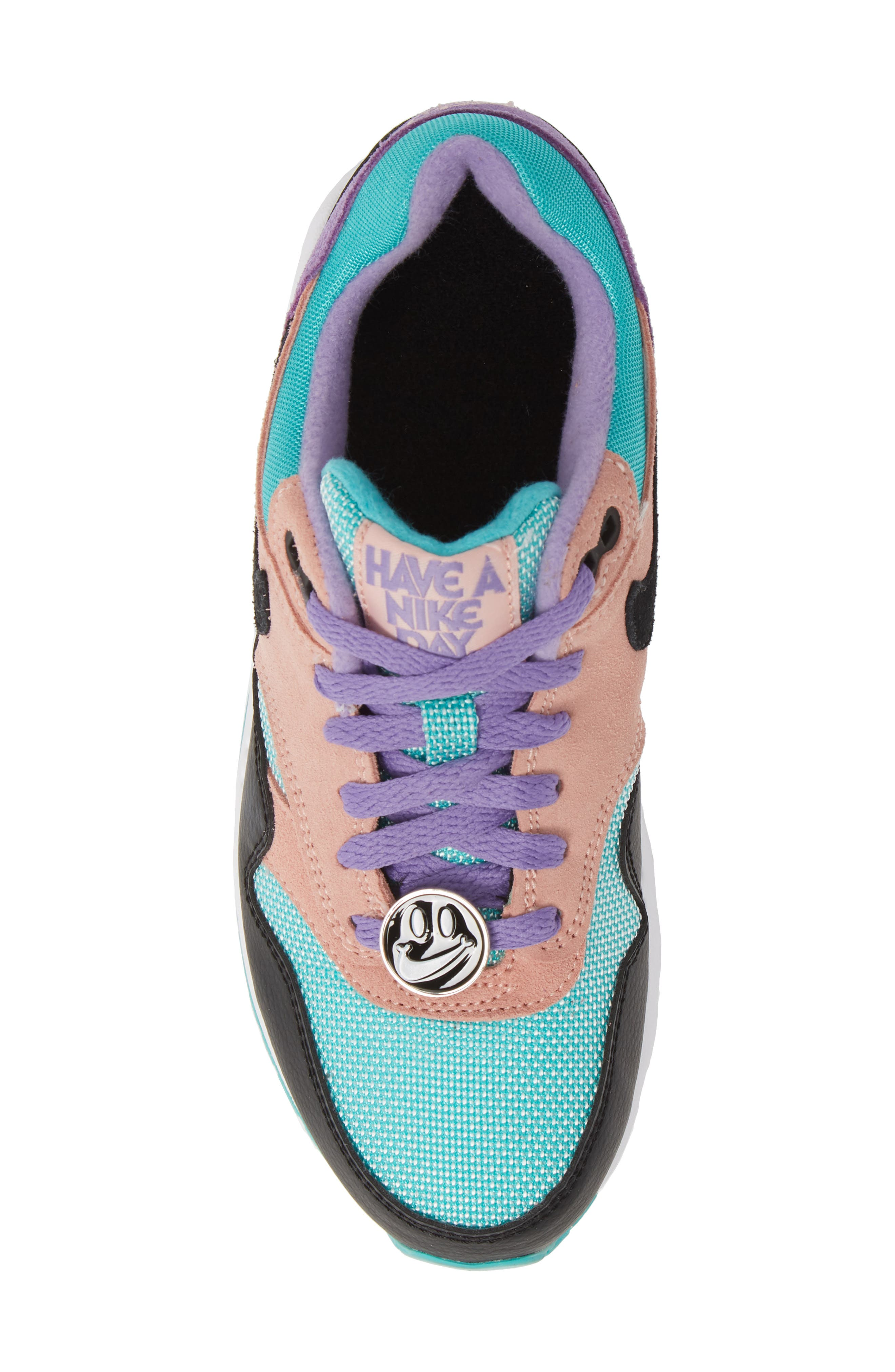 NIKE, Air Max 1 Have a Nike Day Sneaker, Alternate thumbnail 5, color, BLACK/ WHITE