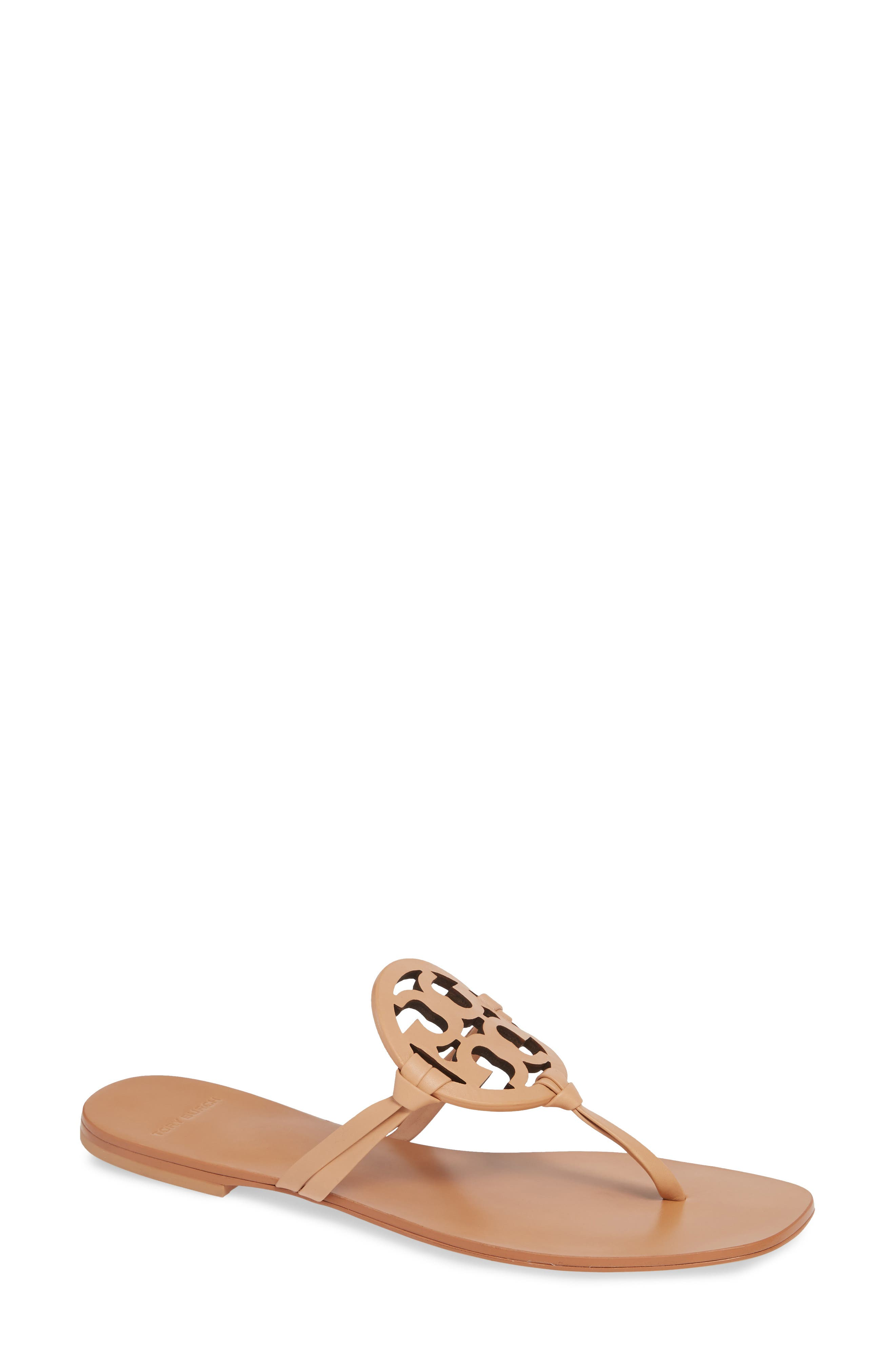 TORY BURCH, Miller Square Toe Thong Sandal, Main thumbnail 1, color, NATURAL VACHETTA