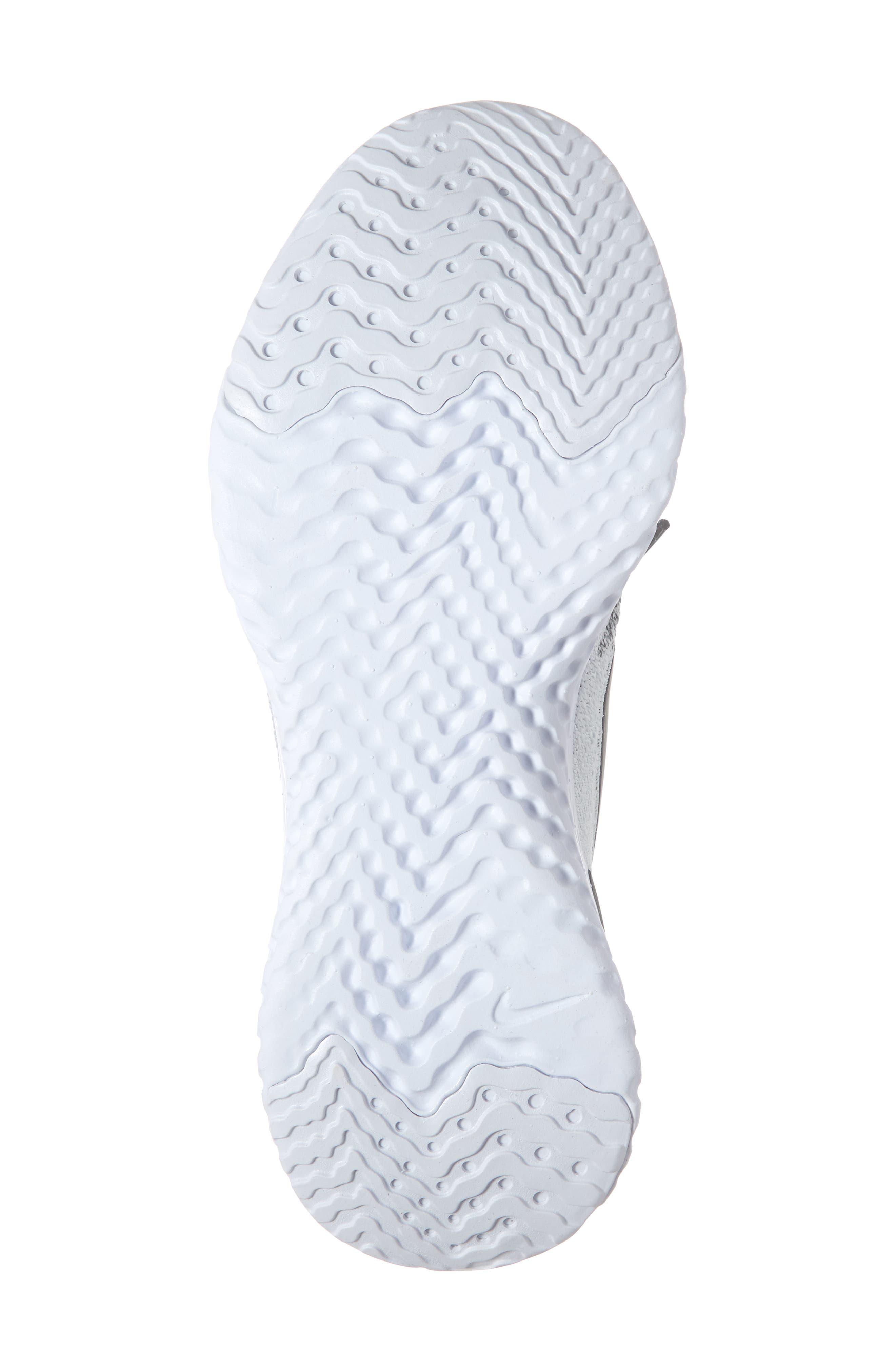 NIKE, Epic React Flyknit 2 Running Shoe, Alternate thumbnail 6, color, WHITE/ BLACK/ PURE PLATINUM