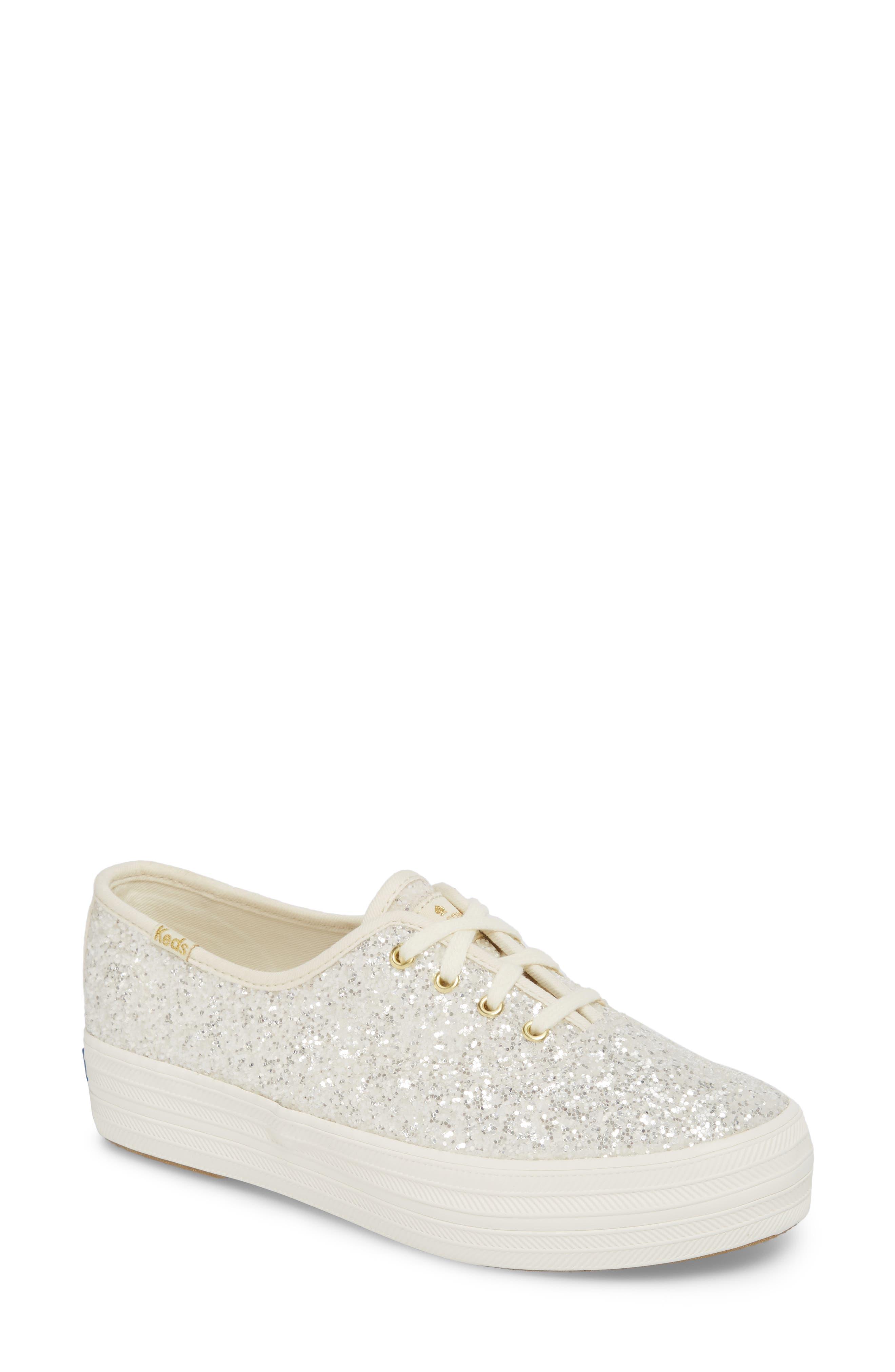 KEDS<SUP>®</SUP> FOR KATE SPADE NEW YORK triple decker glitter sneaker, Main, color, CREAM