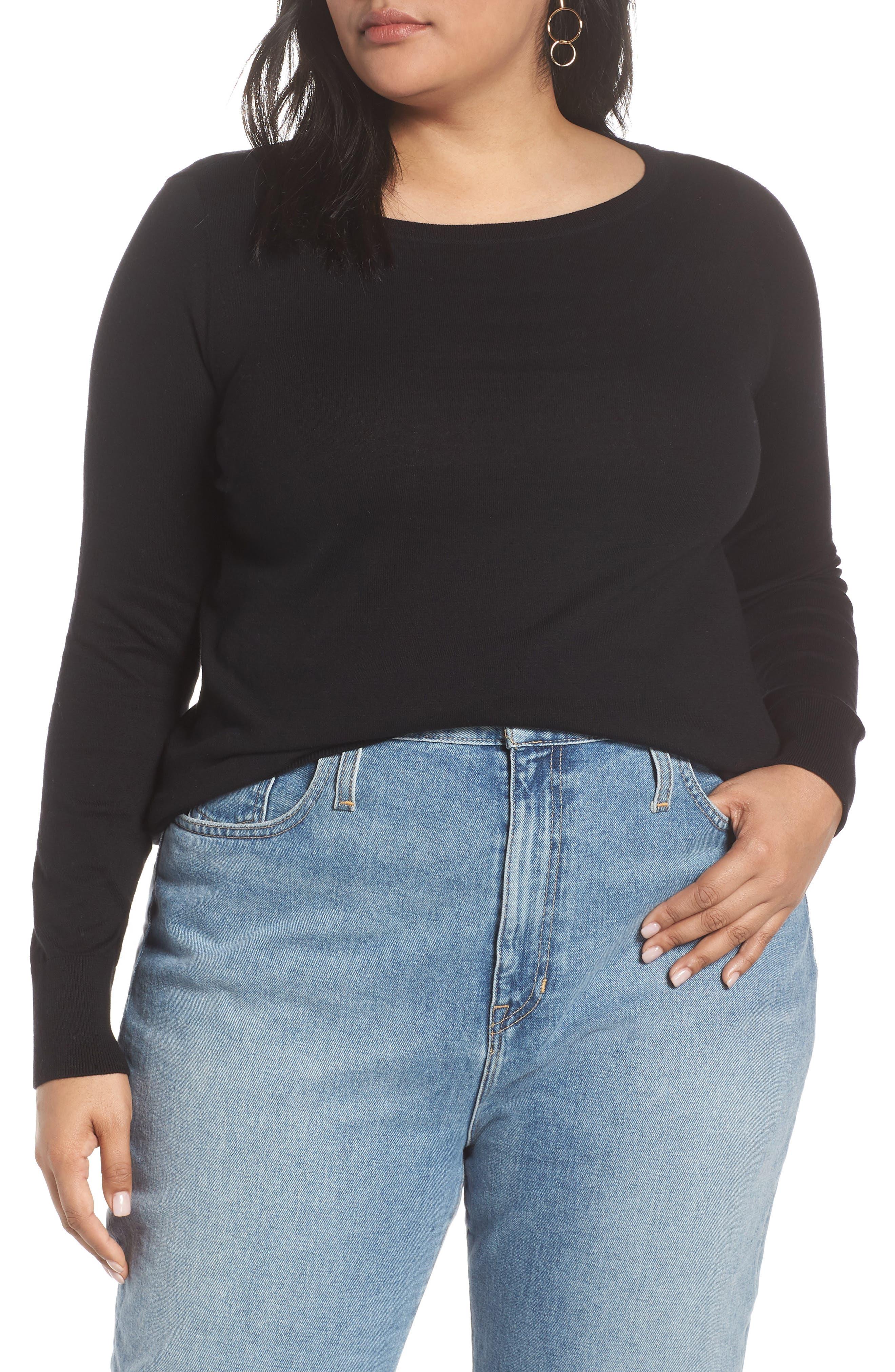 HALOGEN<SUP>®</SUP> Bateau Neck Sweater, Main, color, BLACK