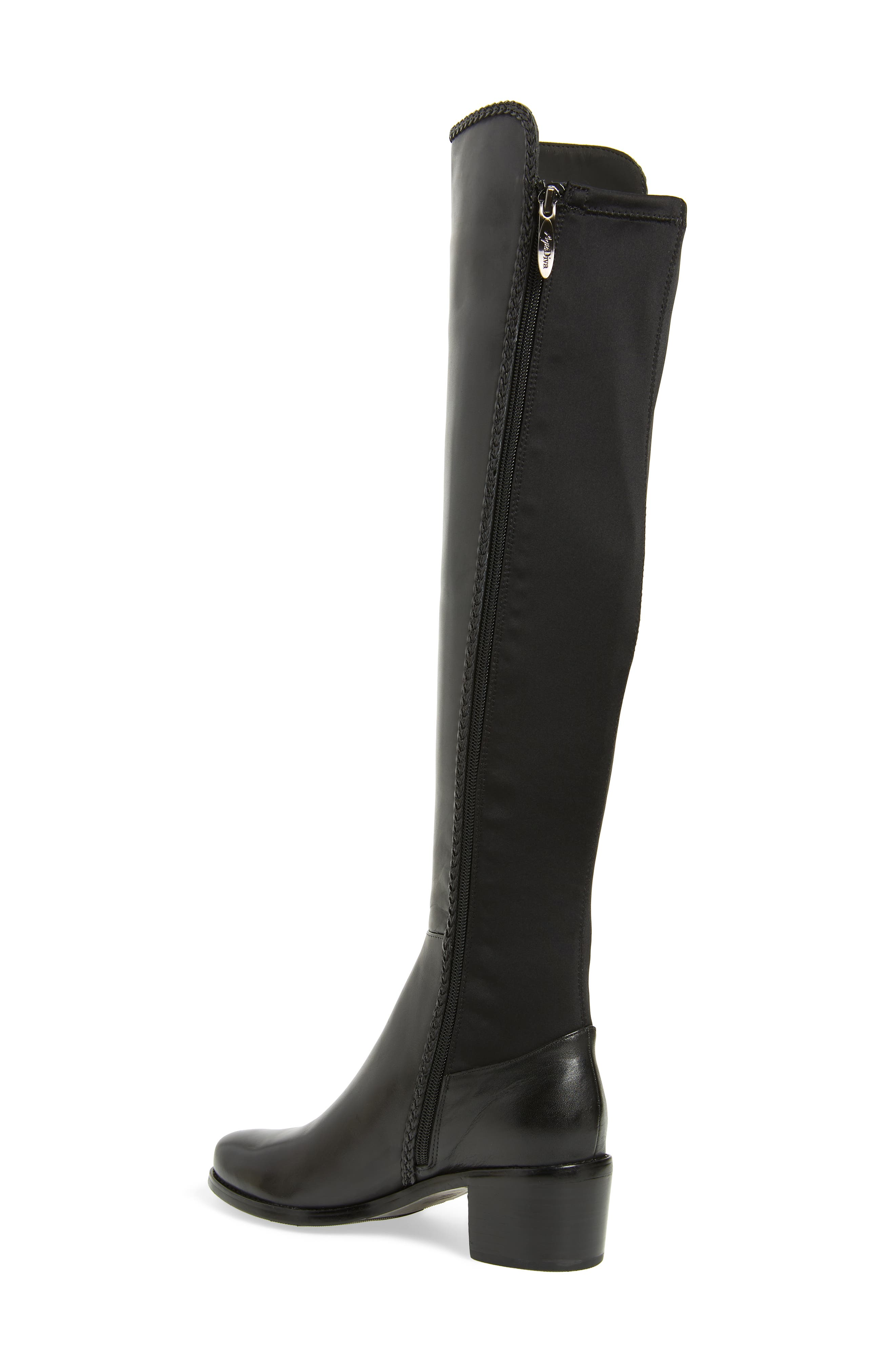 AQUADIVA, Florence Waterproof Over the Knee Boot, Alternate thumbnail 2, color, BLACK LEATHER