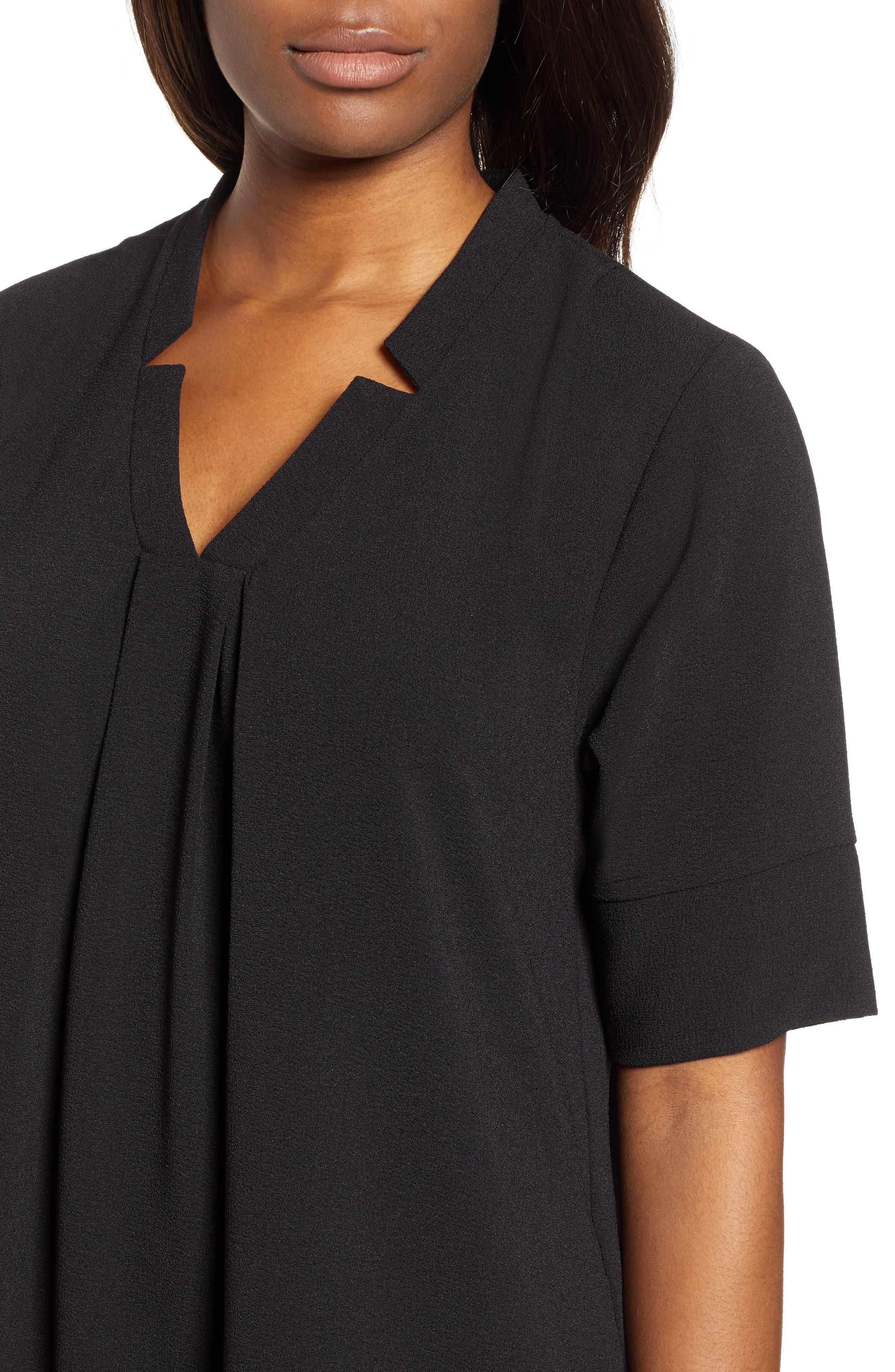 BOBEAU, Pleat Front Curved Hem Shirtdress, Alternate thumbnail 5, color, BLACK
