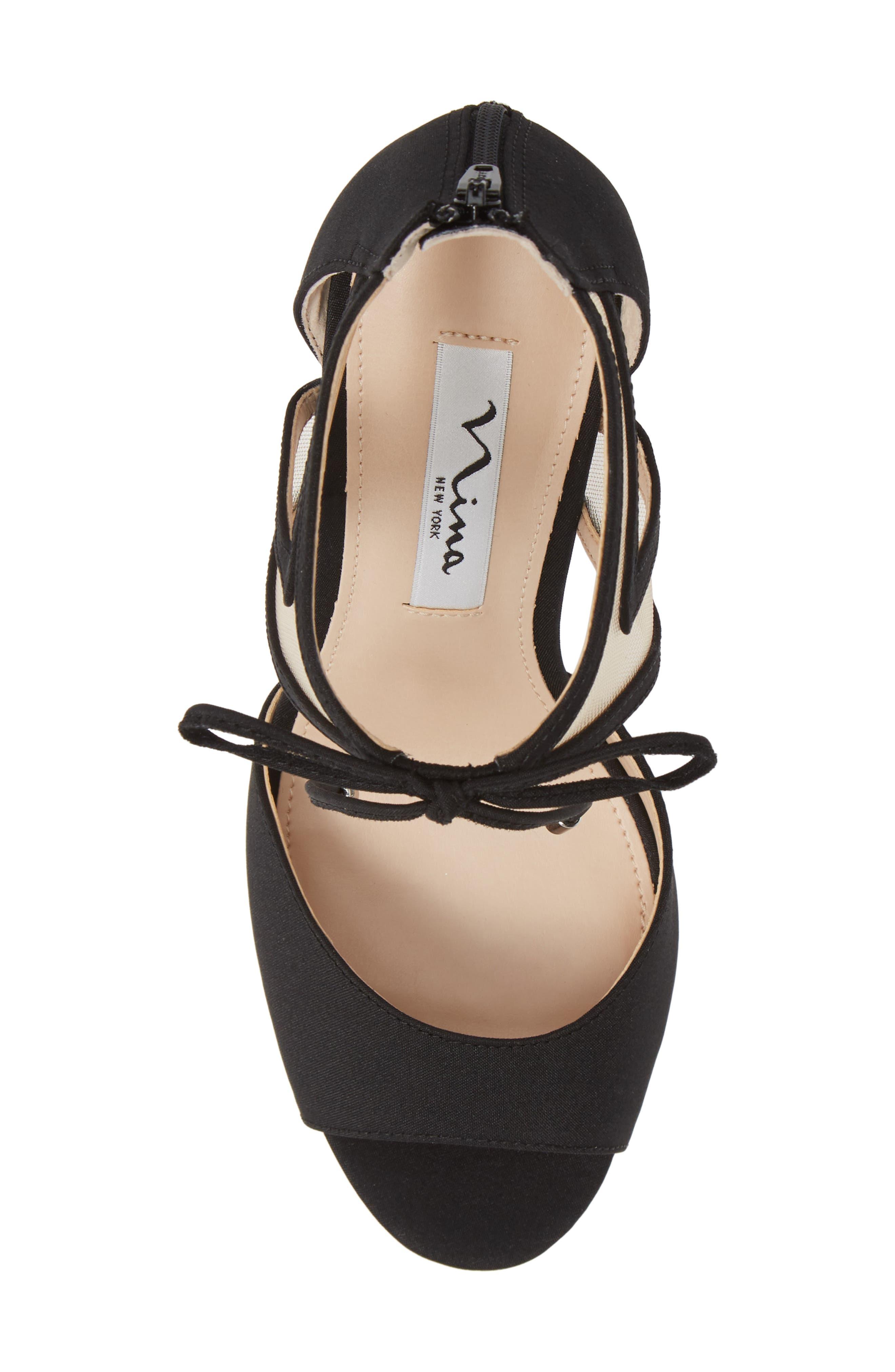 NINA, Caleya Ankle Tie Sandal, Alternate thumbnail 5, color, BLACK CHAMPAGNE