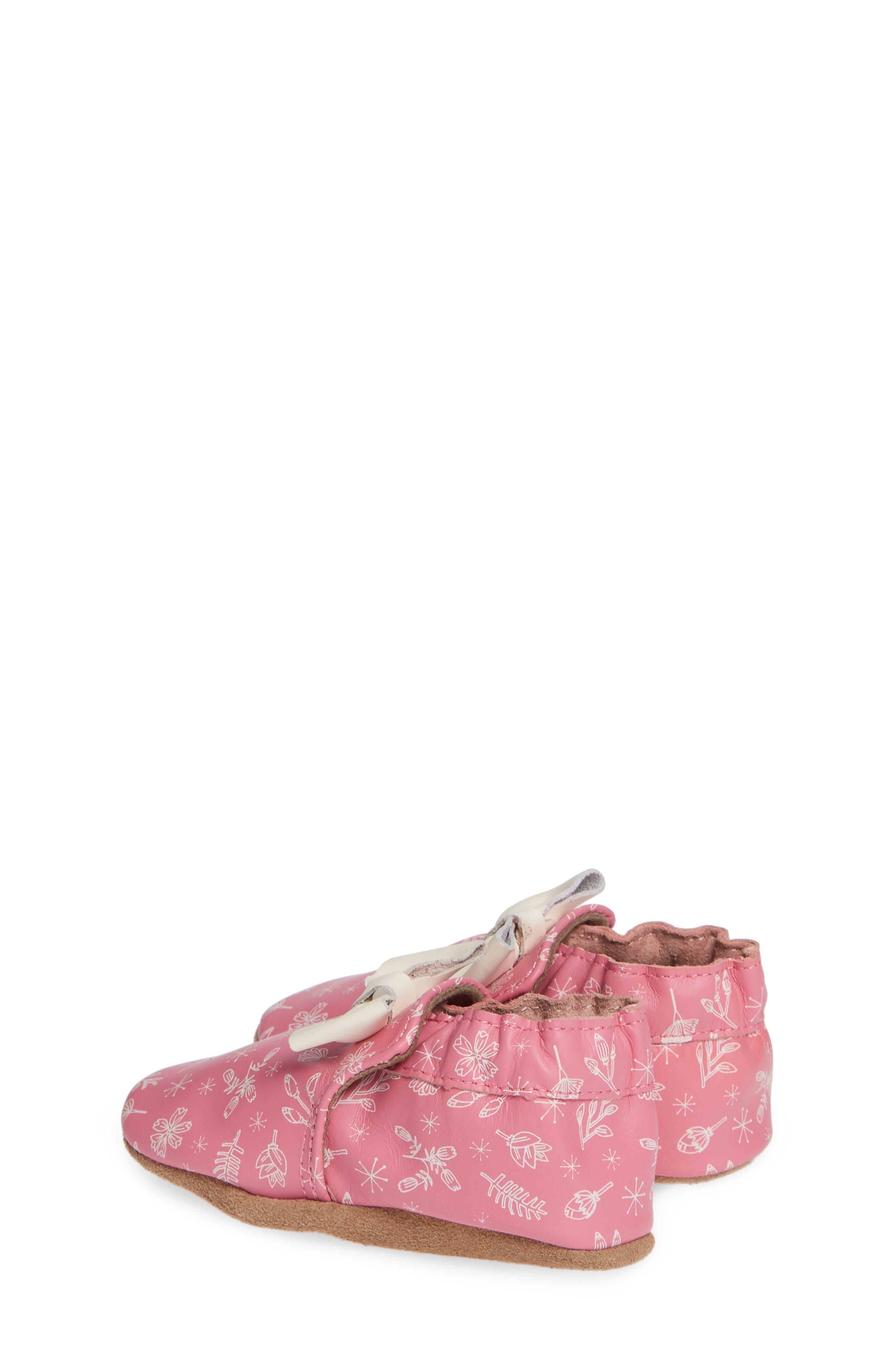 ROBEEZ<SUP>®</SUP>, Francesca Floral Crib Shoe, Alternate thumbnail 3, color, PINK