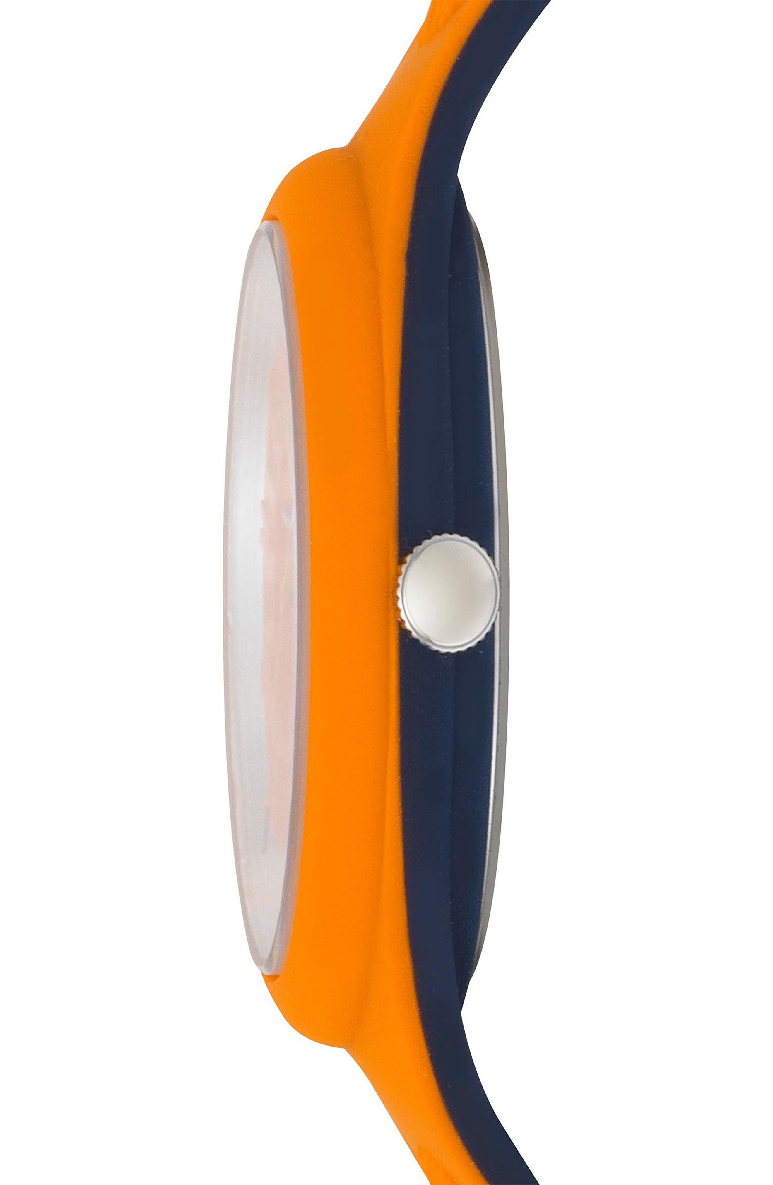 VERSUS VERSACE, Fire Island Silicone Strap Watch, 39mm, Alternate thumbnail 2, color, ORANGE/ GREY