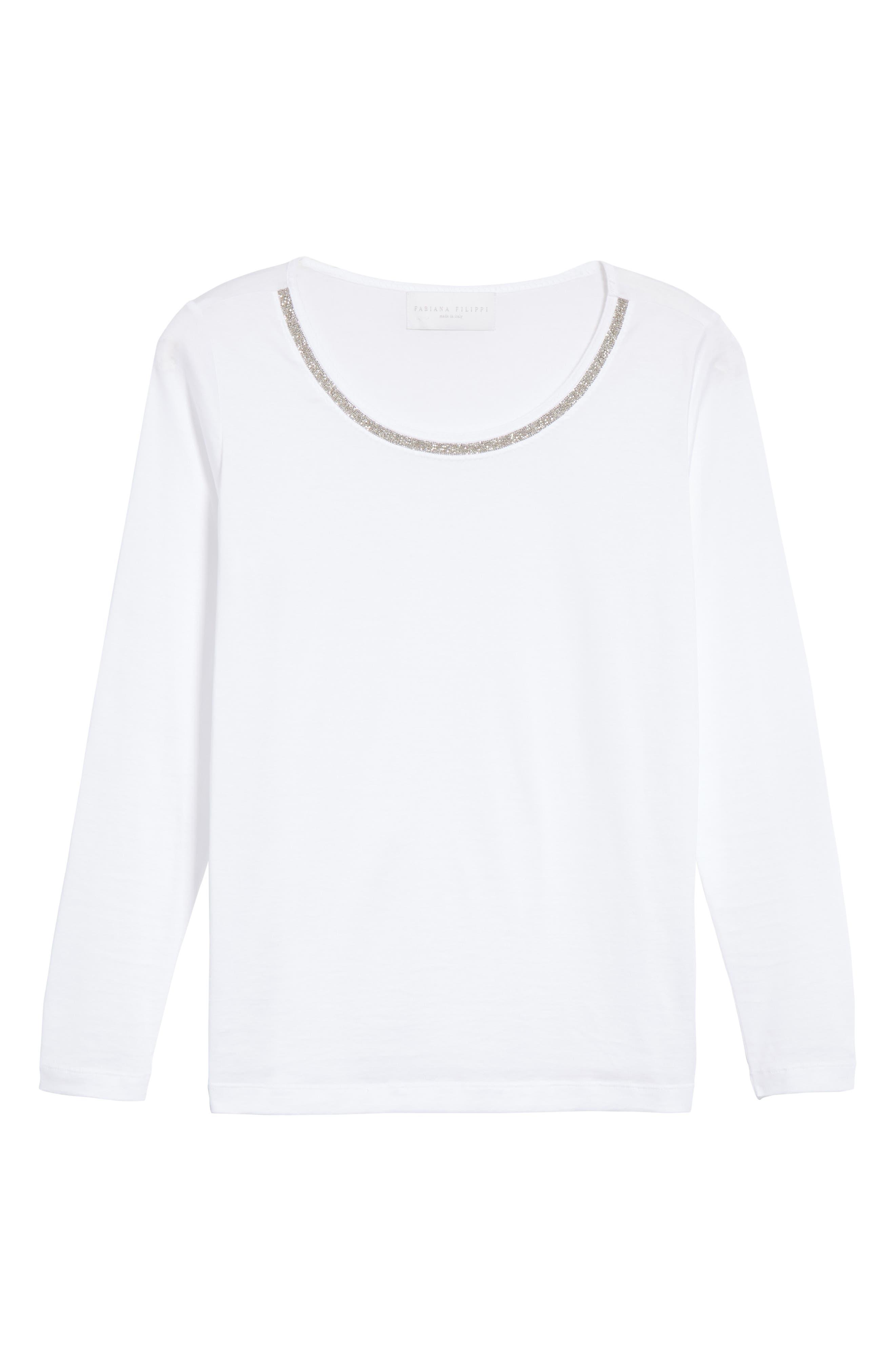 FABIANA FILIPPI, Chain Trim Jersey Top, Alternate thumbnail 6, color, WHITE