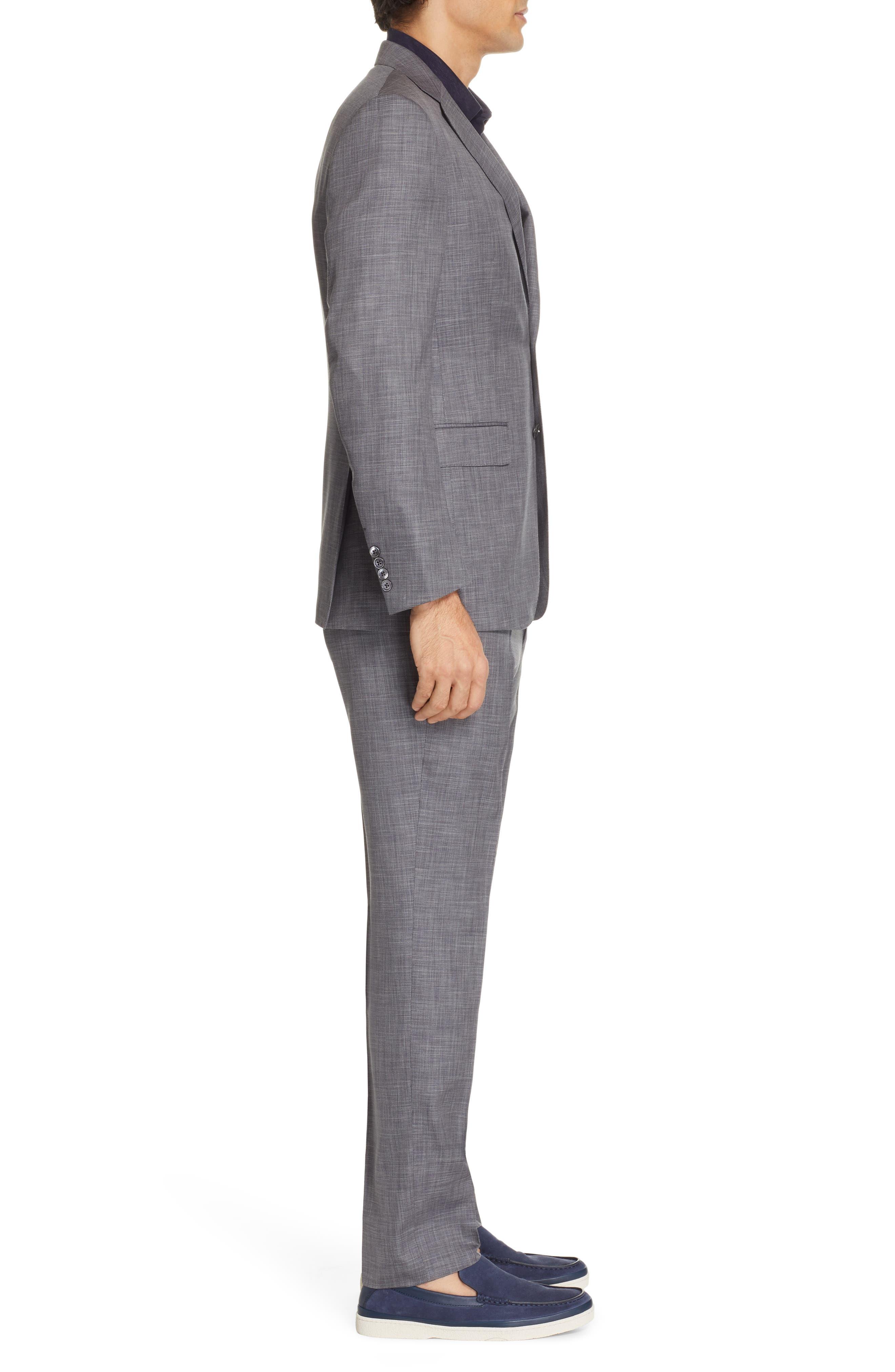 ERMENEGILDO ZEGNA, Milano Trim Fit Solid Wool & Silk Suit, Alternate thumbnail 3, color, GREY