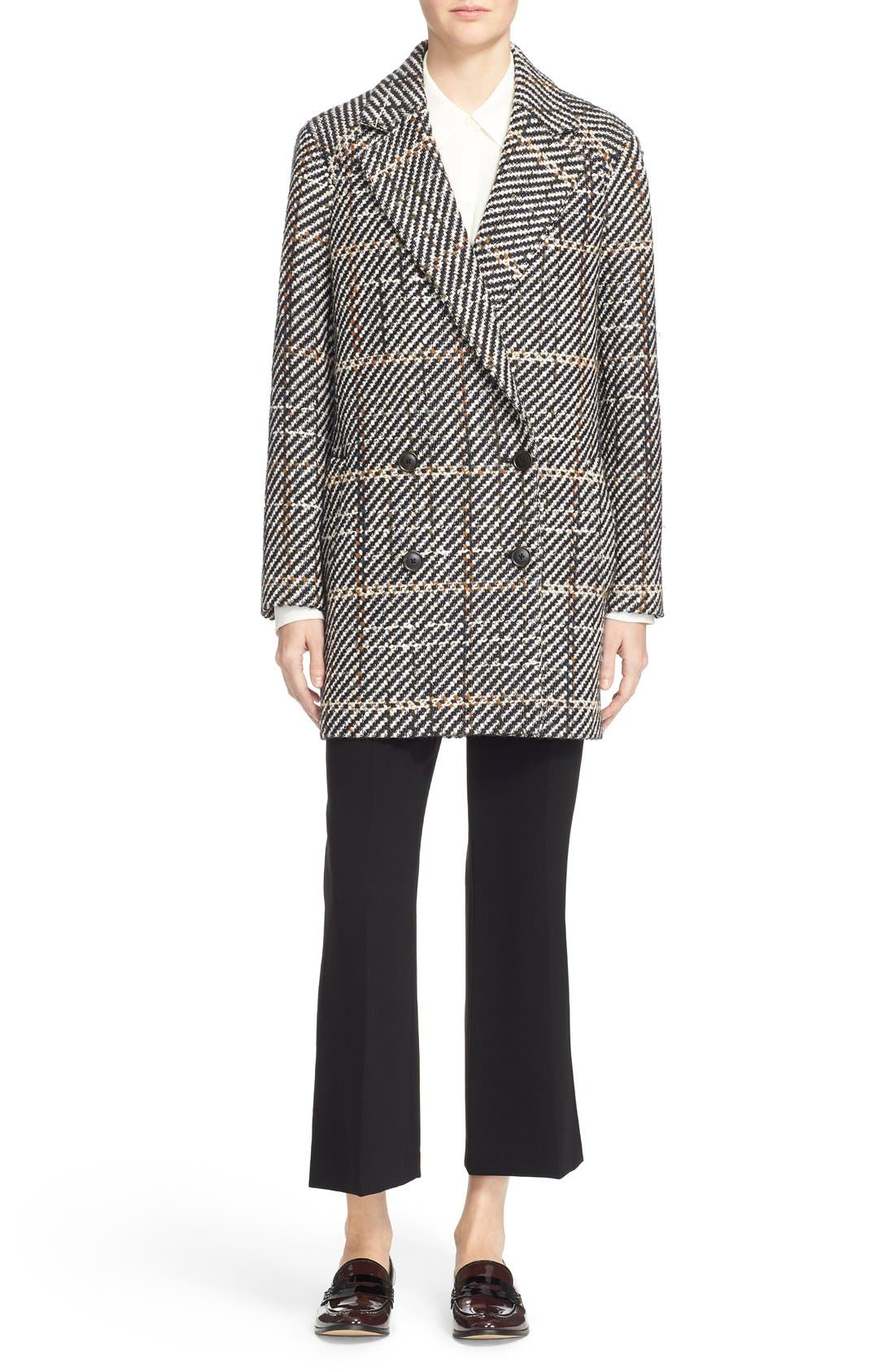 THEORY, Graphic Tweed Coat, Alternate thumbnail 6, color, 454