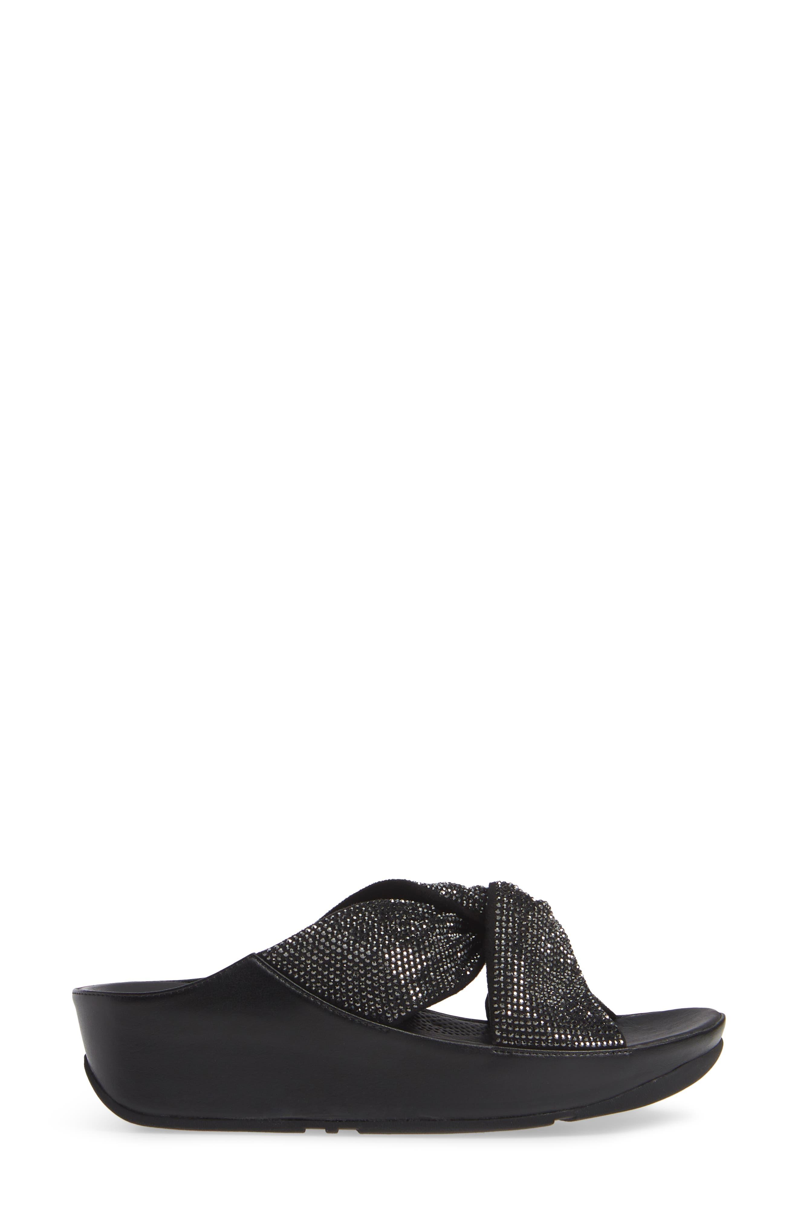 FITFLOP, Twiss Crystal Embellished Slide Sandal, Alternate thumbnail 3, color, BLACK FABRIC