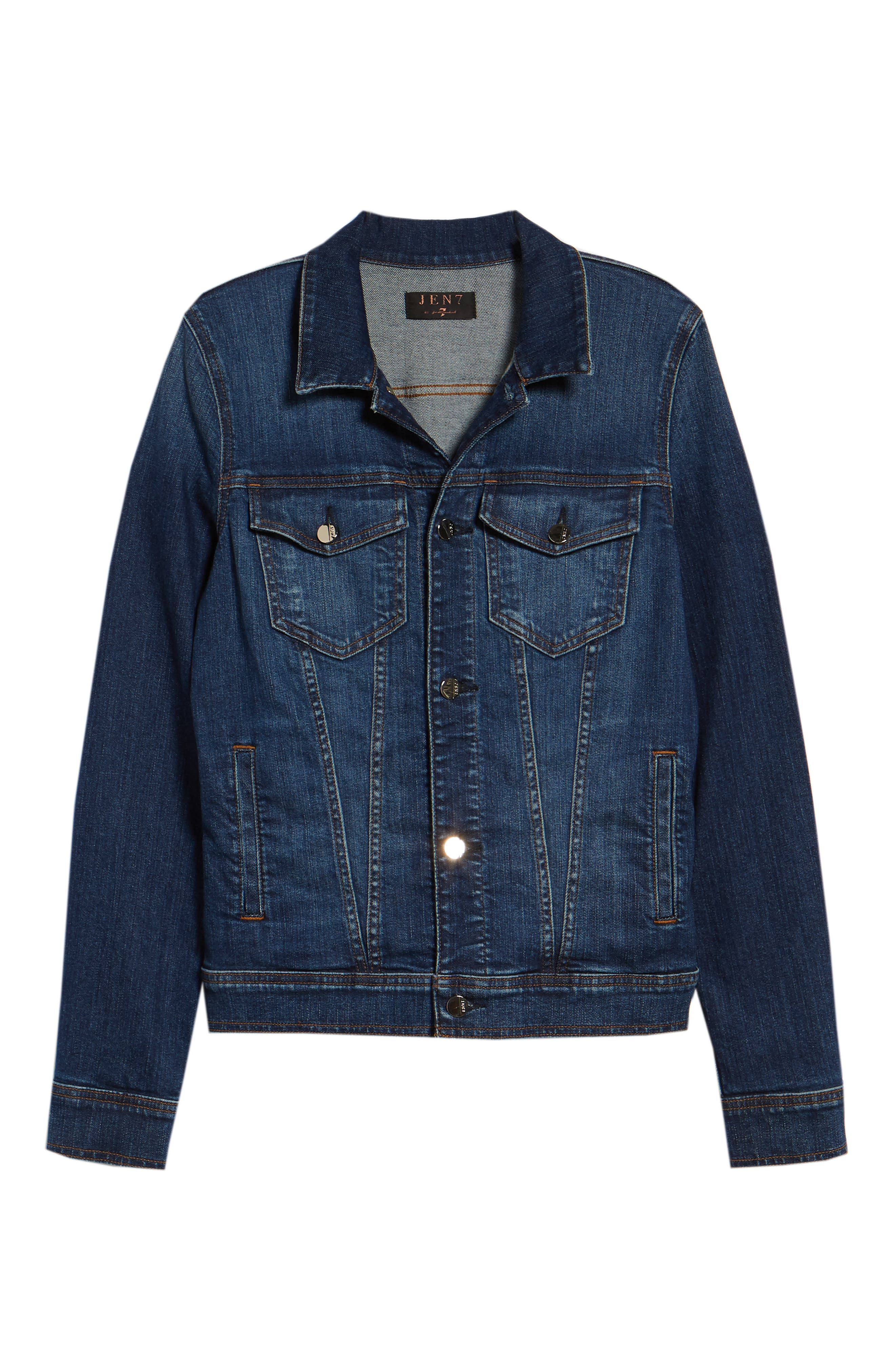JEN7 BY 7 FOR ALL MANKIND, Classic Denim Jacket, Alternate thumbnail 5, color, 403