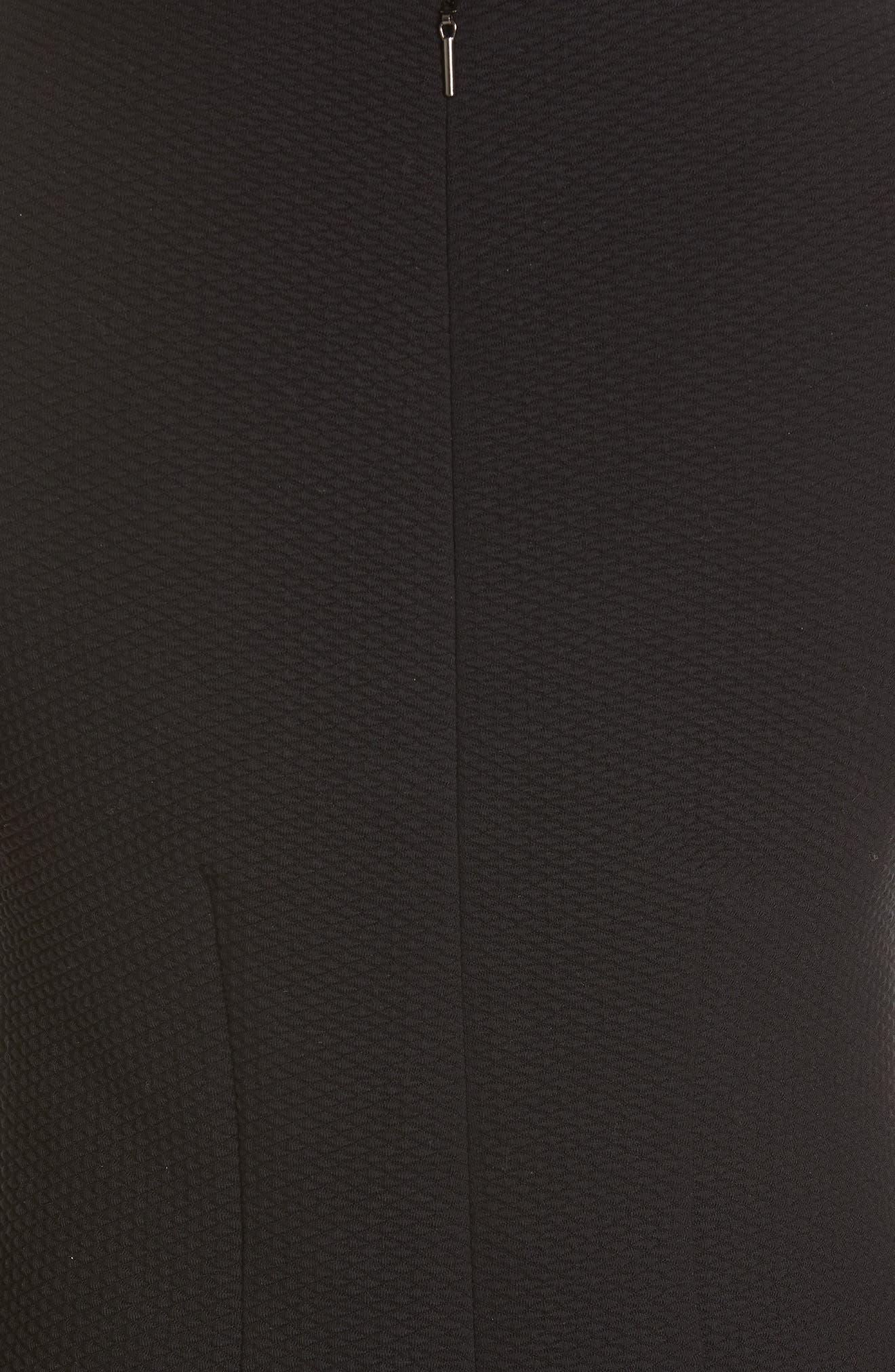 REBECCA TAYLOR, Fit & Flare Dress, Alternate thumbnail 5, color, BLACK